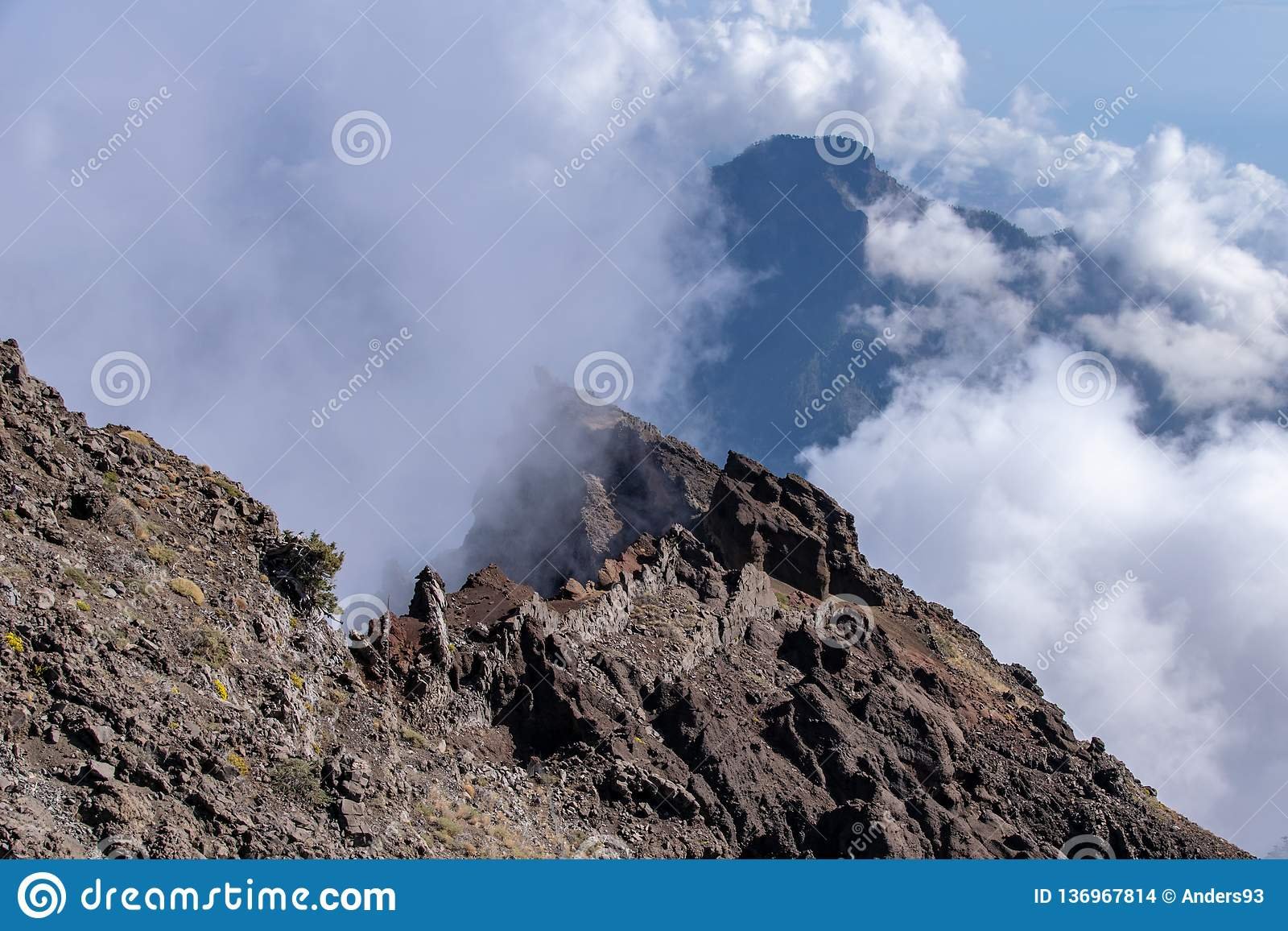 Clouds forming over the mountains and volcanic ridge at Roque de los Muchachos on La Palma, Canary Islands