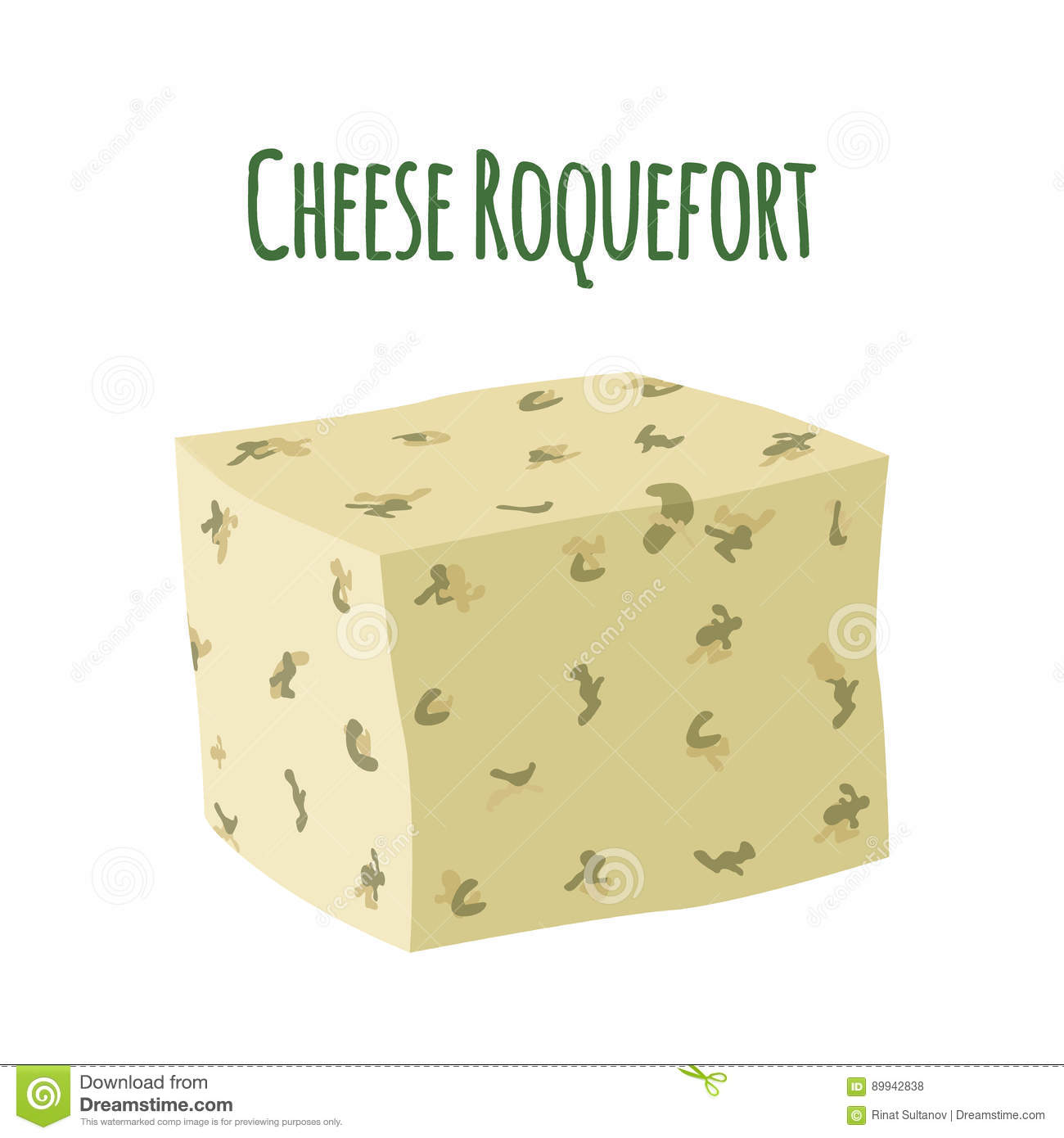 Roquefort cheese with mould. Dairy milky product. Flat style.