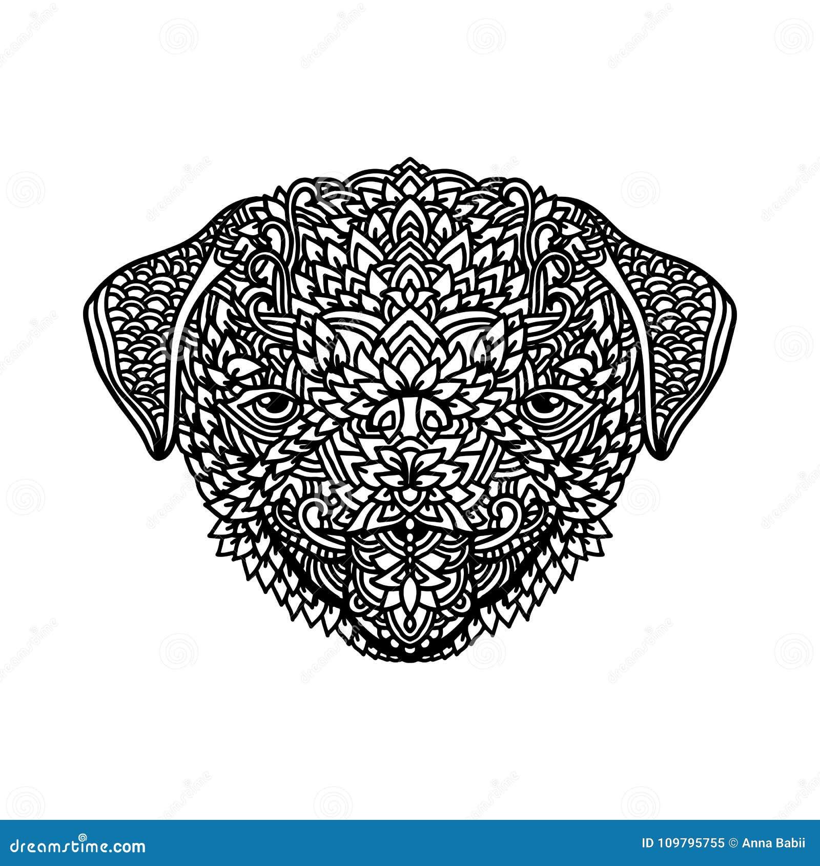 Coloriage Adulte Blanc.Roquet Noir Et Blanc Avec Les Ornements Floraux Ethniques Pour Livre