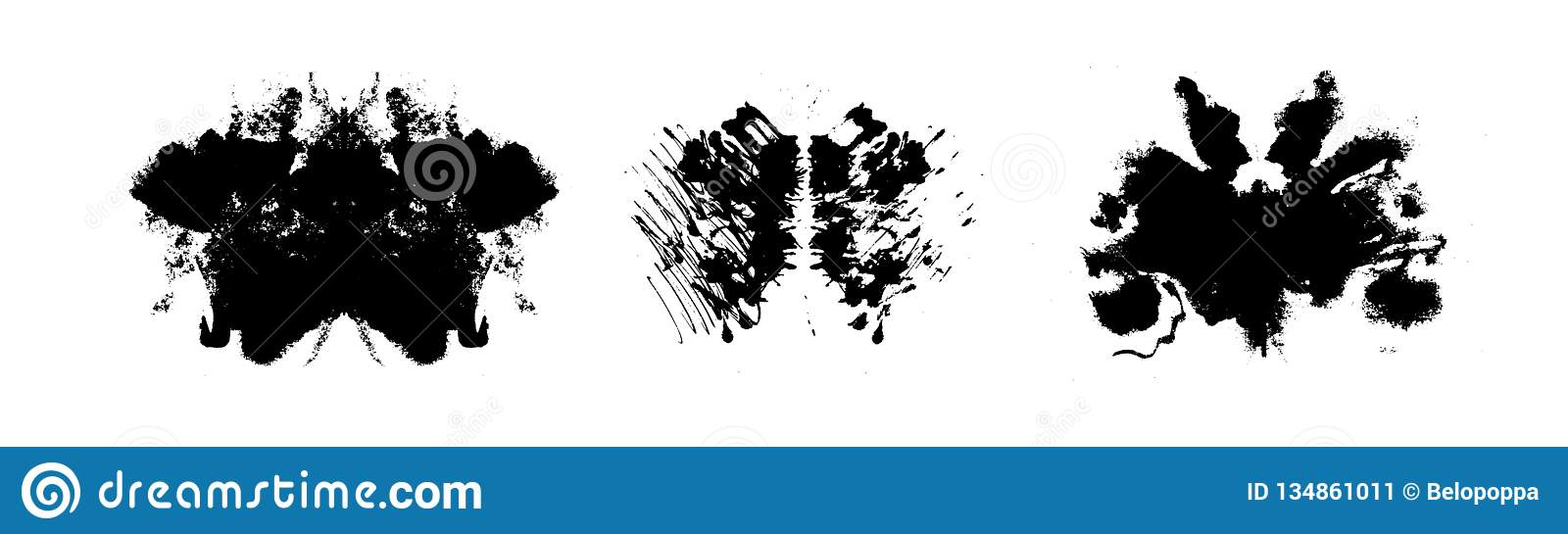 Rorschach inkblot test illustration, symmetrical abstract ink stains