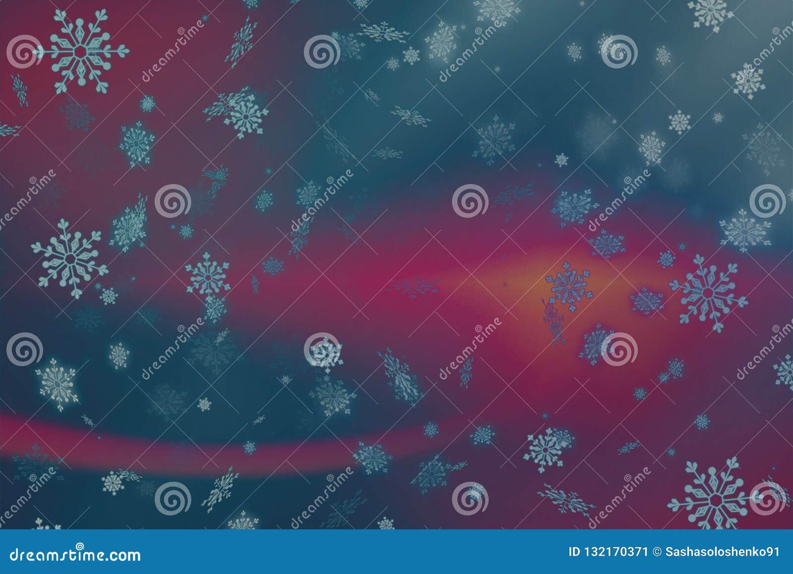 Rosa abstracto y fondo púrpura de la Navidad con nieve y copos de nieve