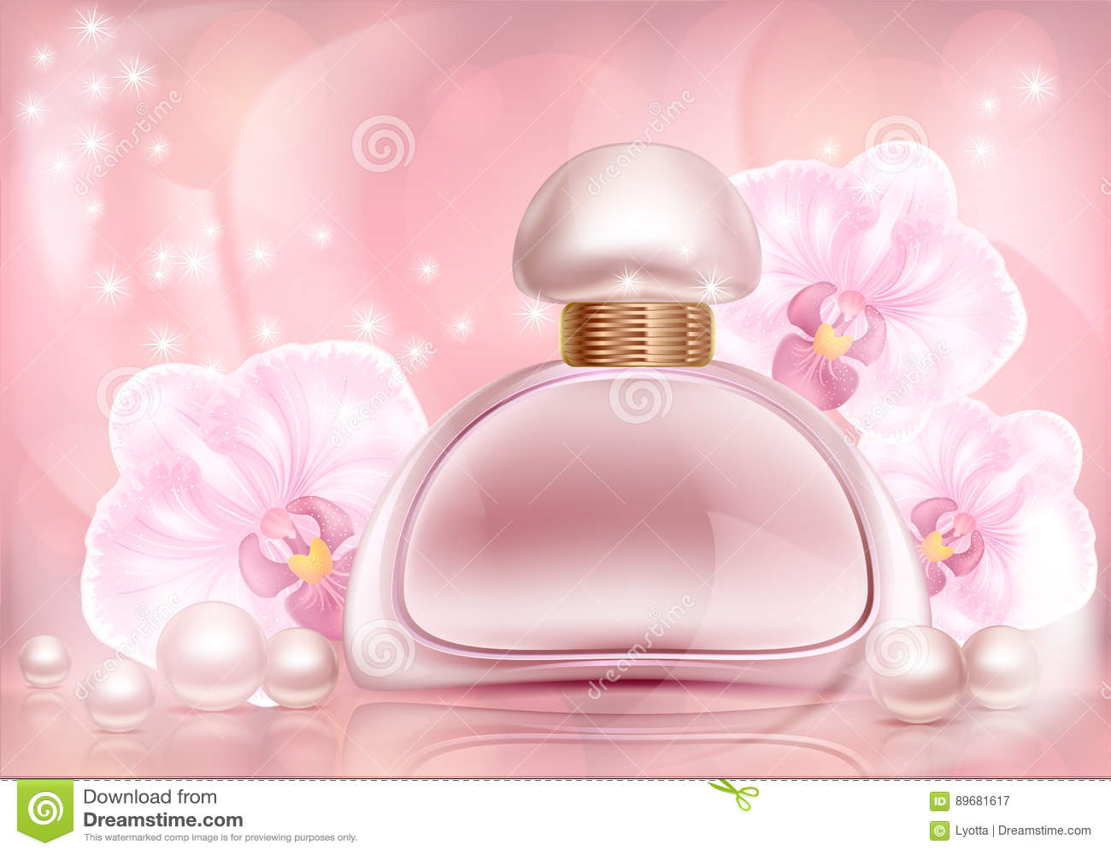 Rosa advertizingflaska för doft med orkidér och pärlor med en blom- prydnad på en mönstrad tappning