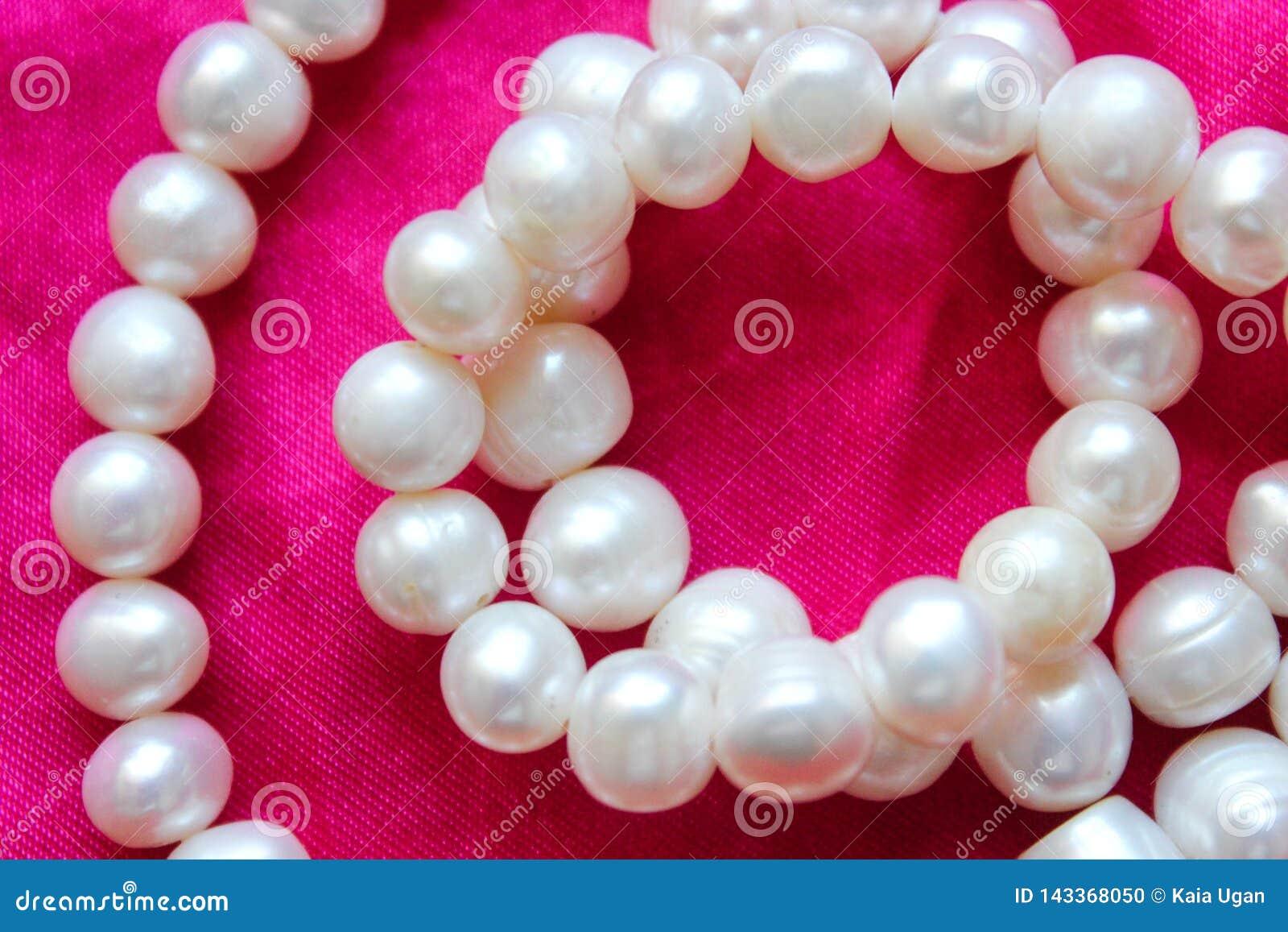 Rosa bakgrund med vita pärlor Härligt texturera