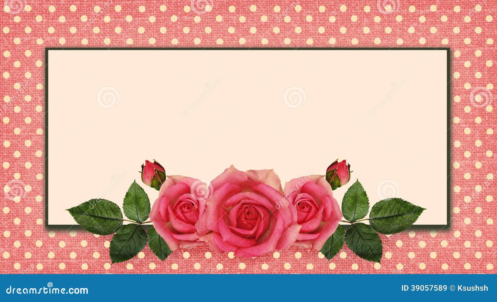 Rosa blommaordning och ram