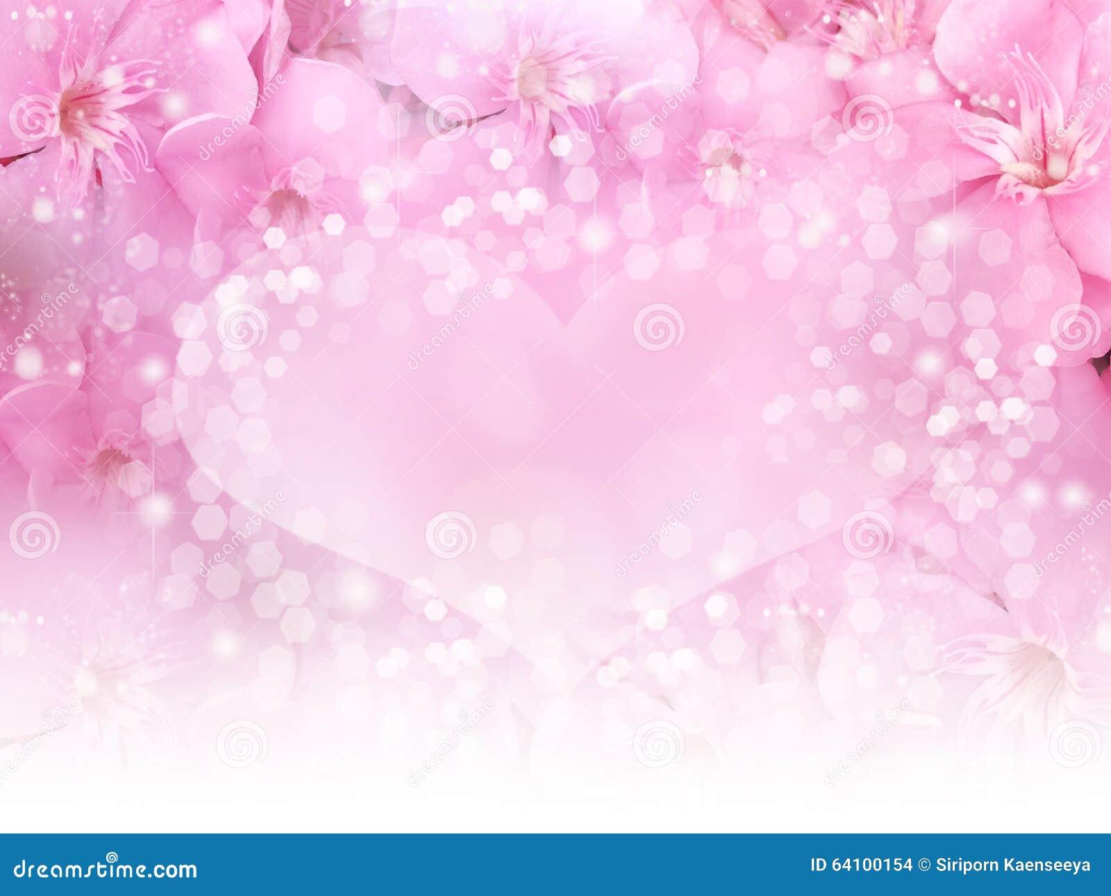 Rosa Blumengrenze Und Herz Bokeh Hintergrund Fur Hochzeitskarten