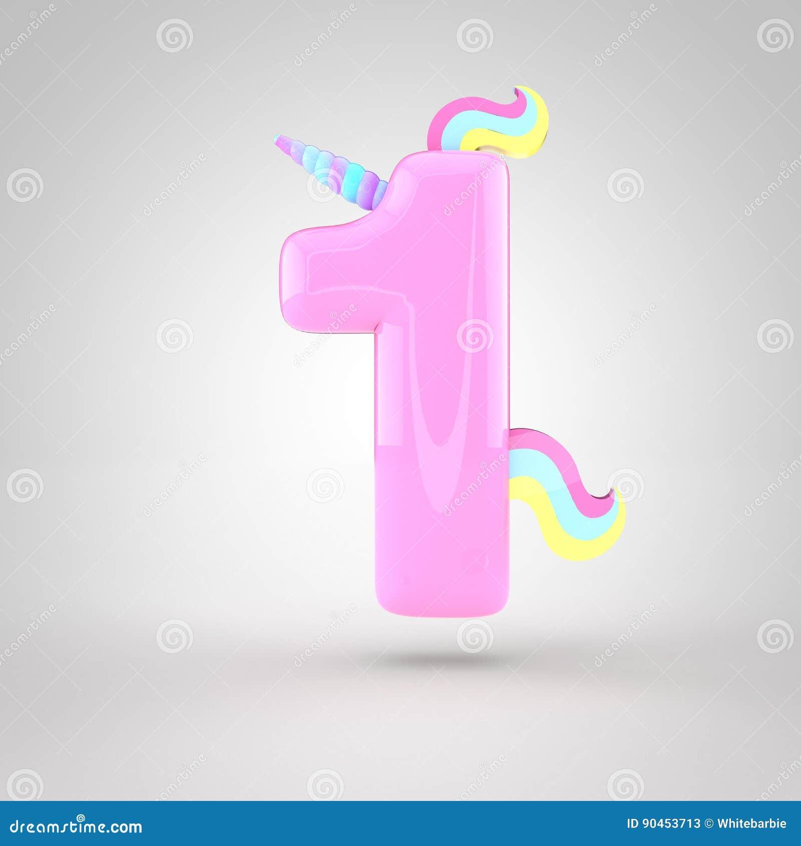 rosa bonito número 1 do unicórnio ilustração stock ilustração de