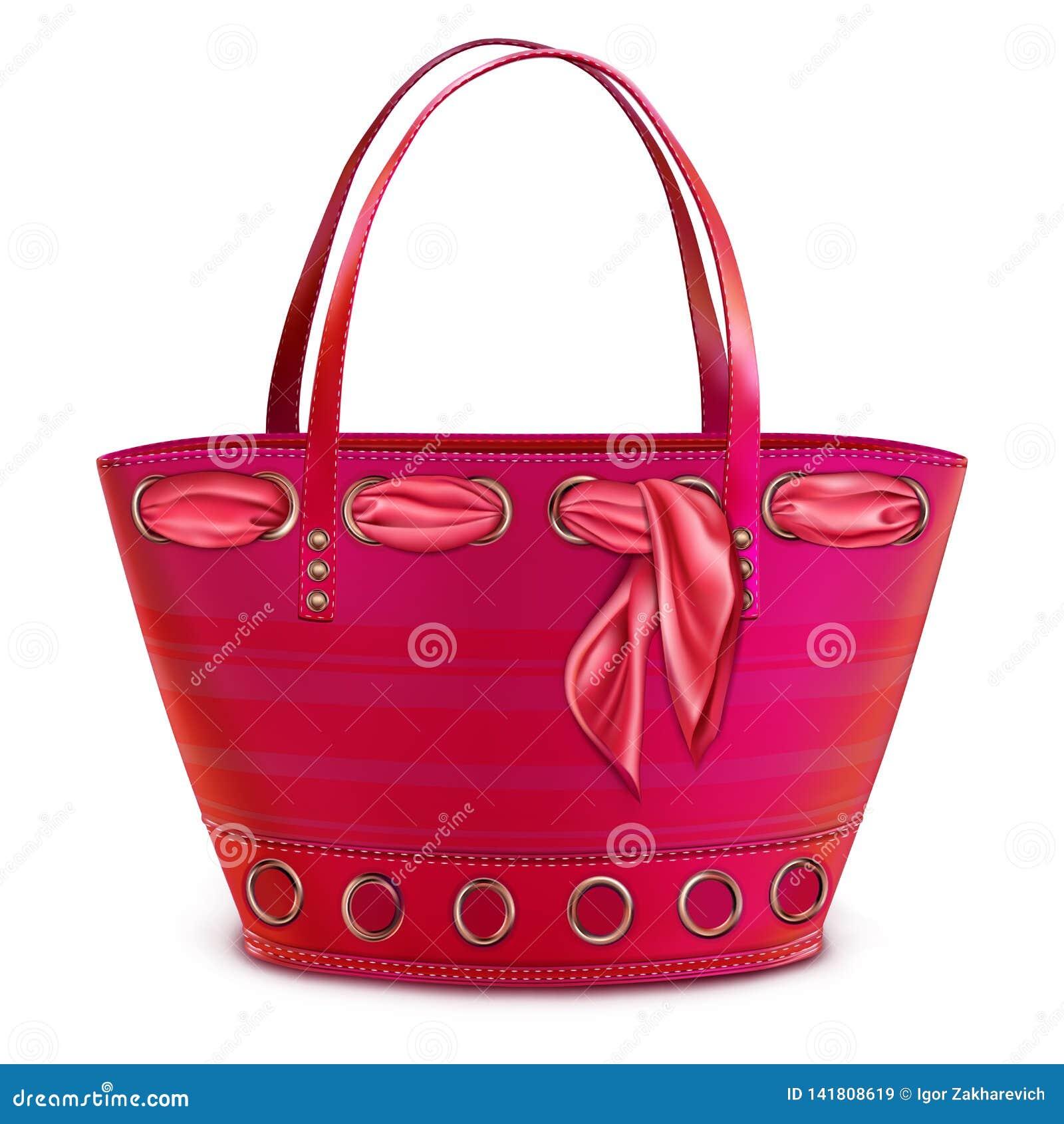 Rosa brillante del bolso de la playa de las mujeres con una bufanda rosada