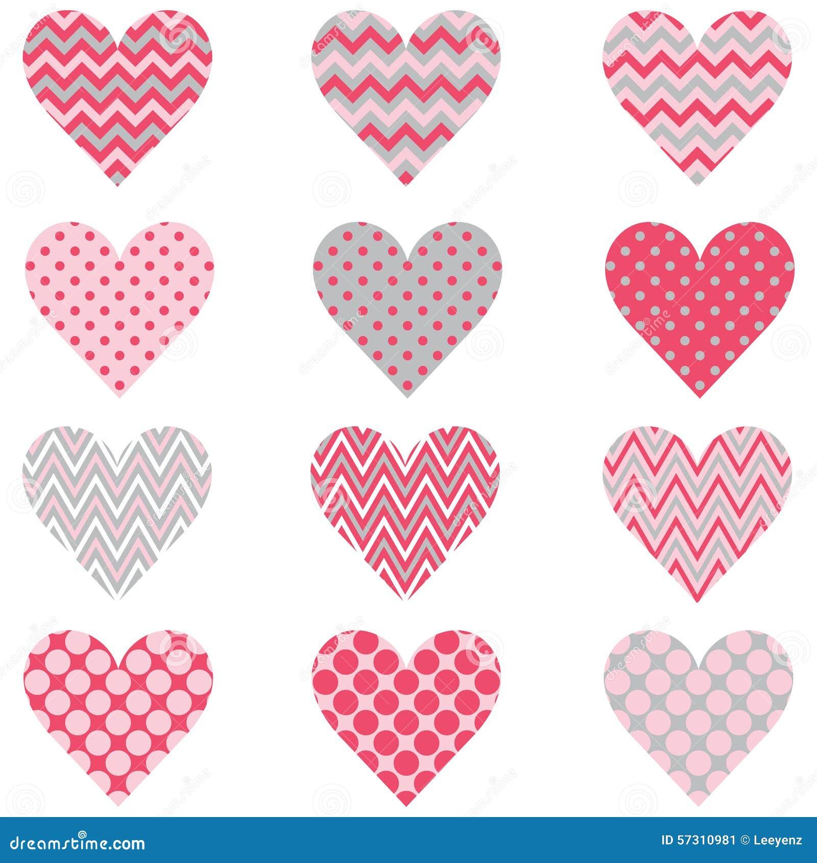 Rosa Chevron-Polka Dot Heart Shape Pattern
