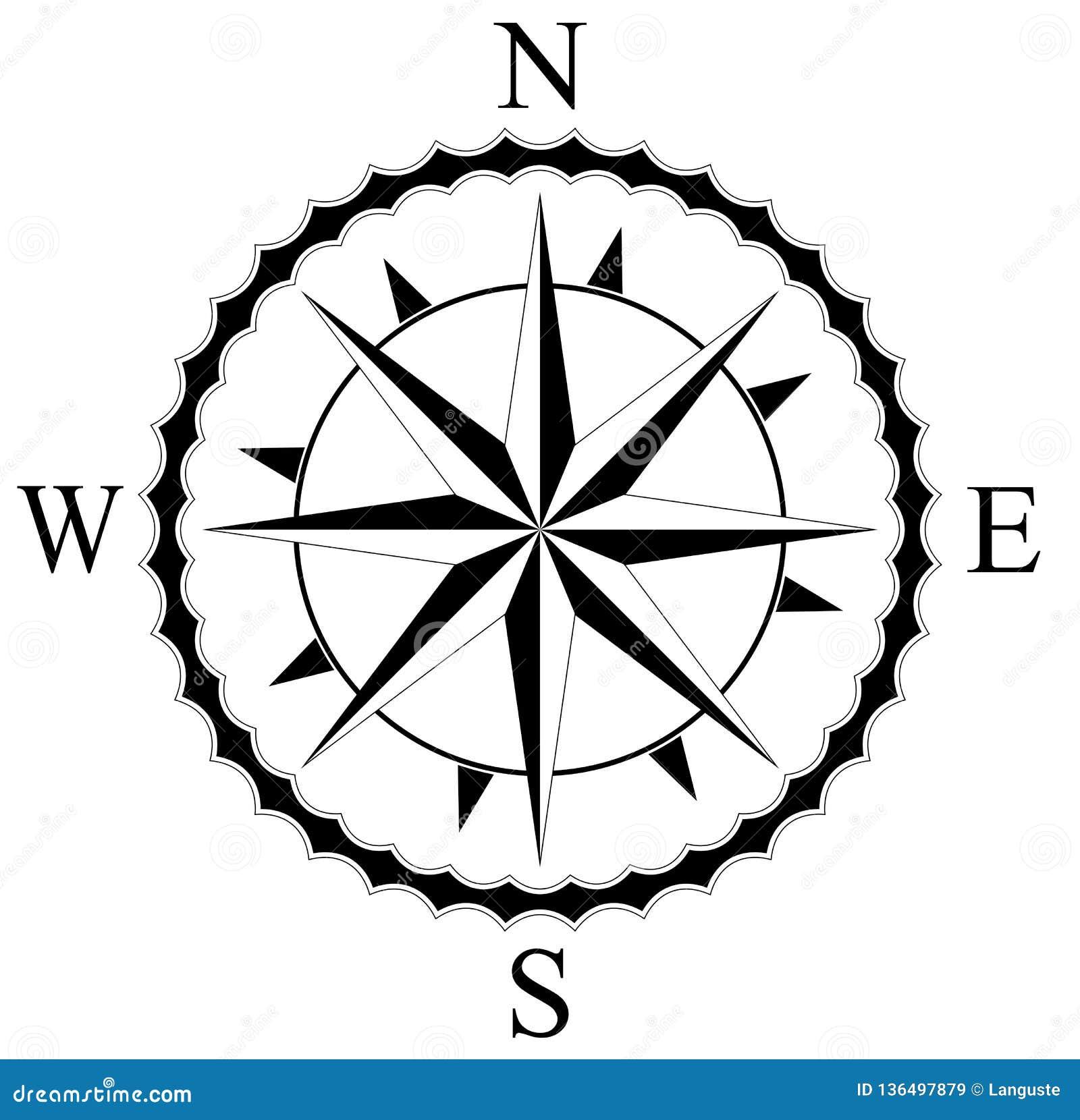 Rosa Dei Venti Semplice Per Navigazione Nautica Ed Anche Per L