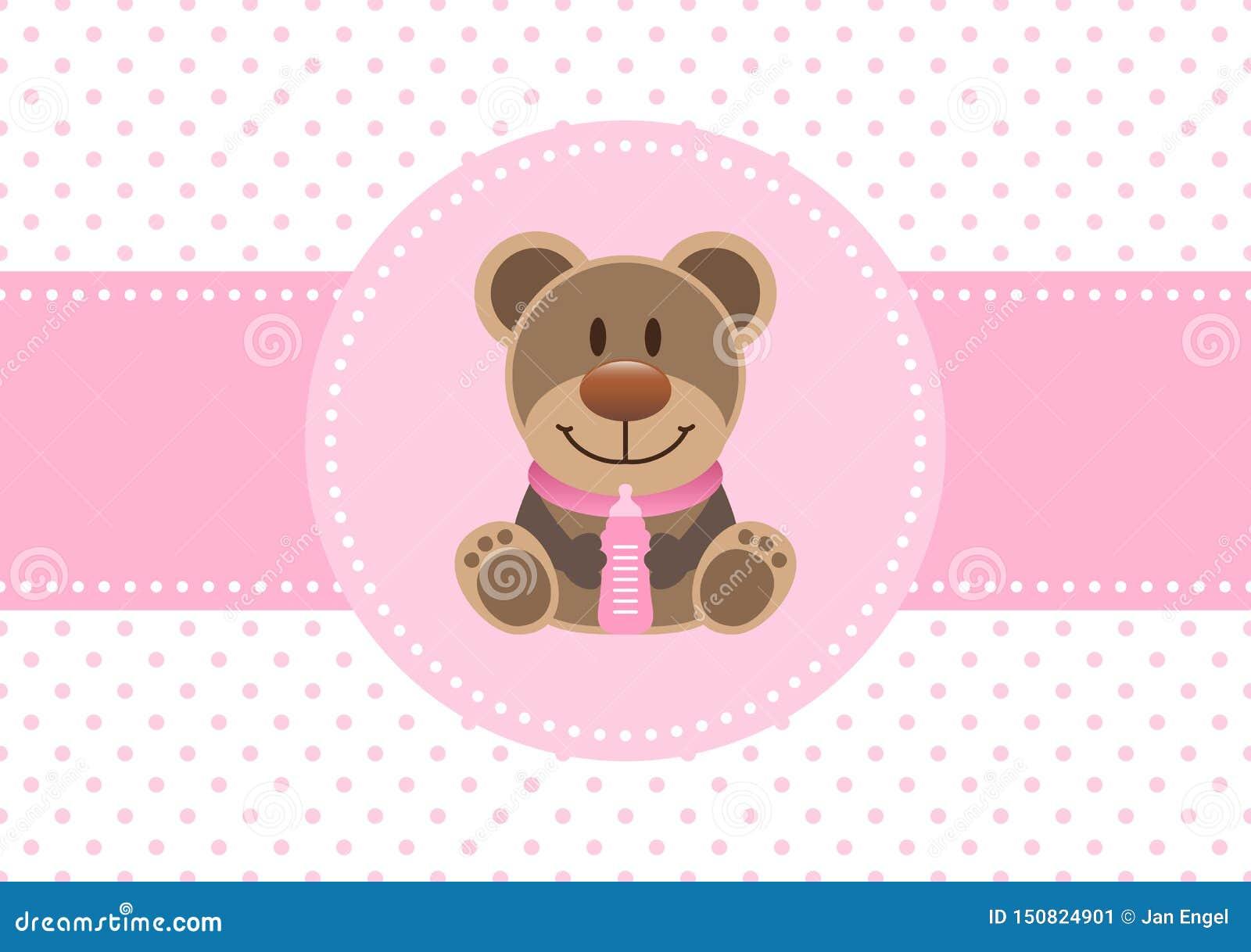 Rosa di Teddy And Bottle Dots Background della ragazza della carta del bambino