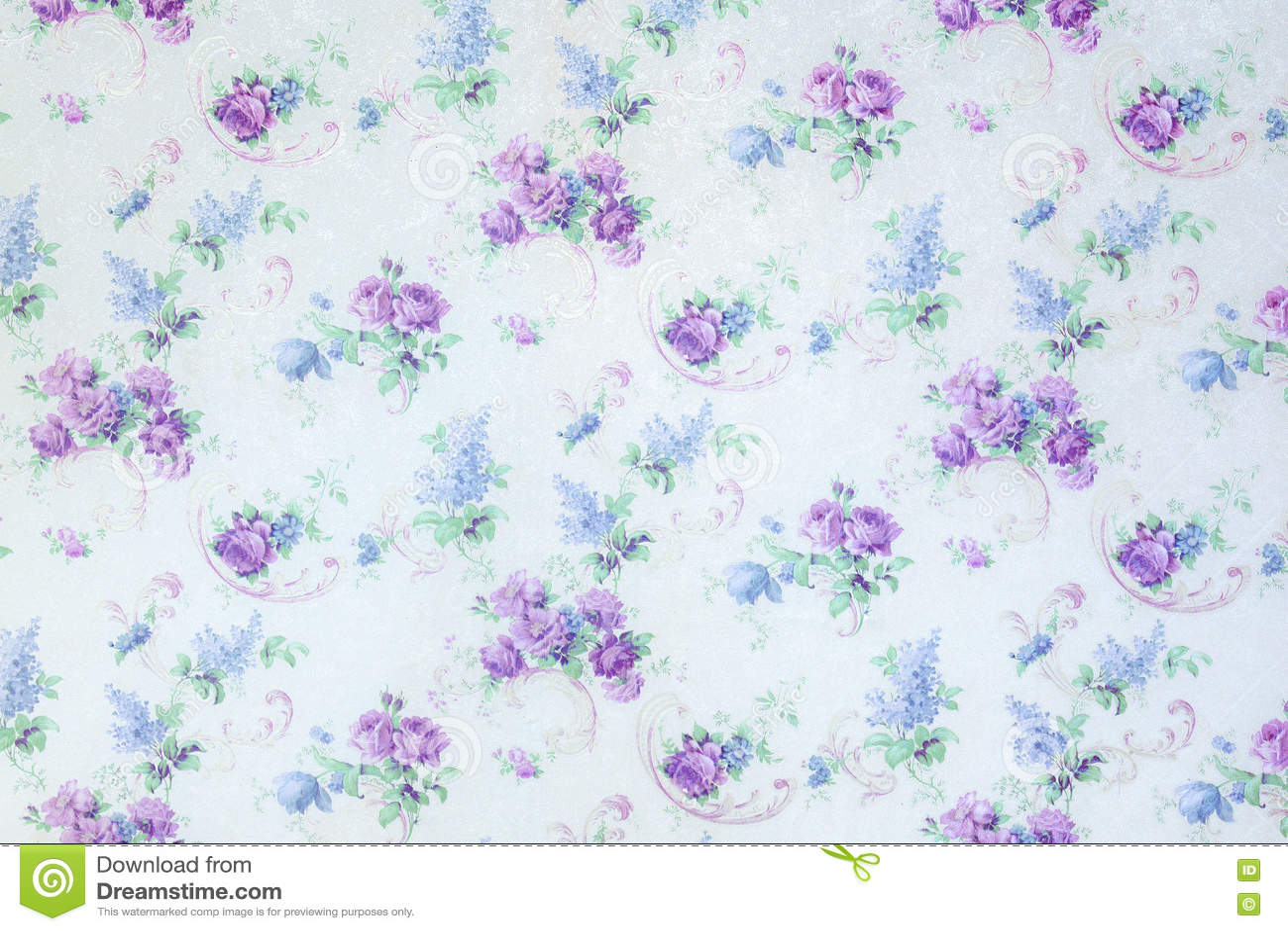 A rosa do azul floresce o teste padrão do contexto na textura do fundo da parede