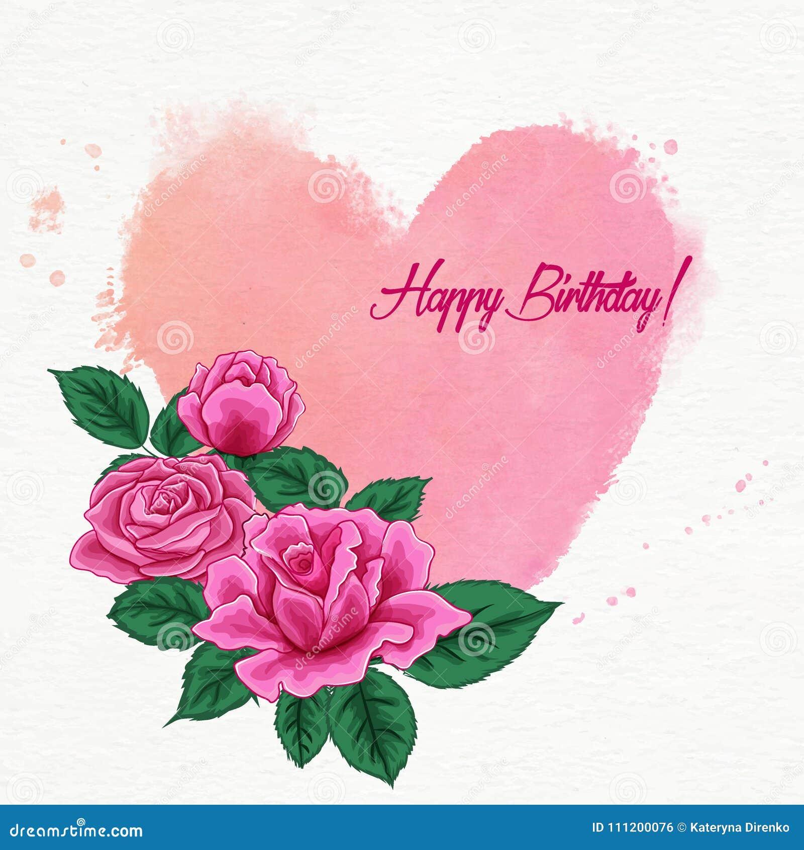 Rosa E Cuore Per Il Buon Compleanno Di Compleanno Illustrazione Di