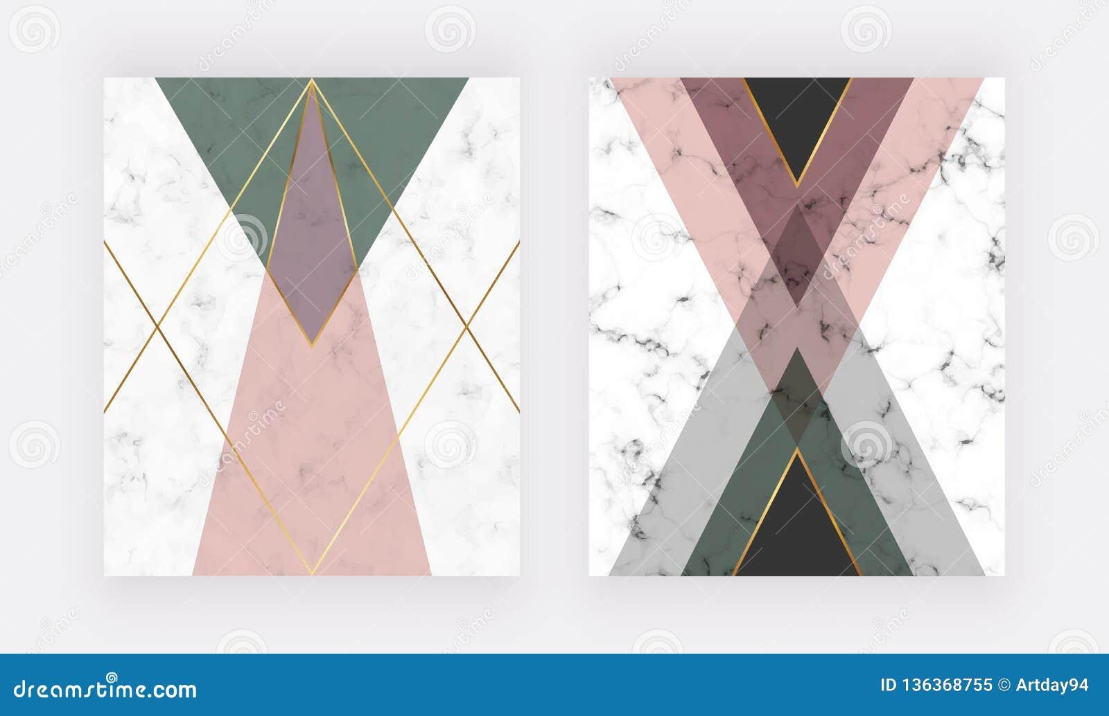 Rosa e projeto geométrico verde com linhas douradas Projeto da forma para a bandeira, inseto, cartaz, convite do casamento, cartã