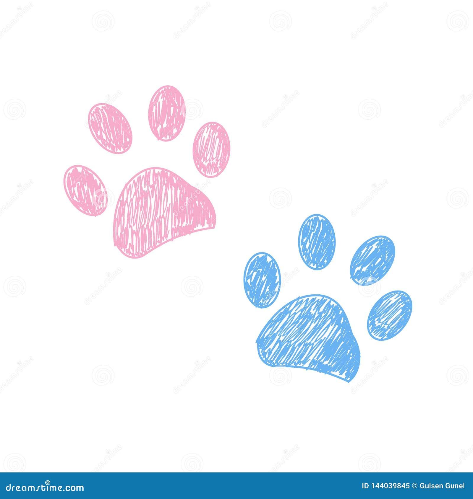Rosa e stampa disegnata a mano della zampa colorata blu