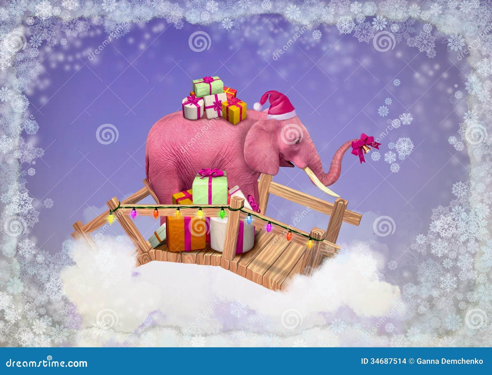 Rosa Elefant Im Himmel Mit Weihnachtsgeschenken. Stock Abbildung ...