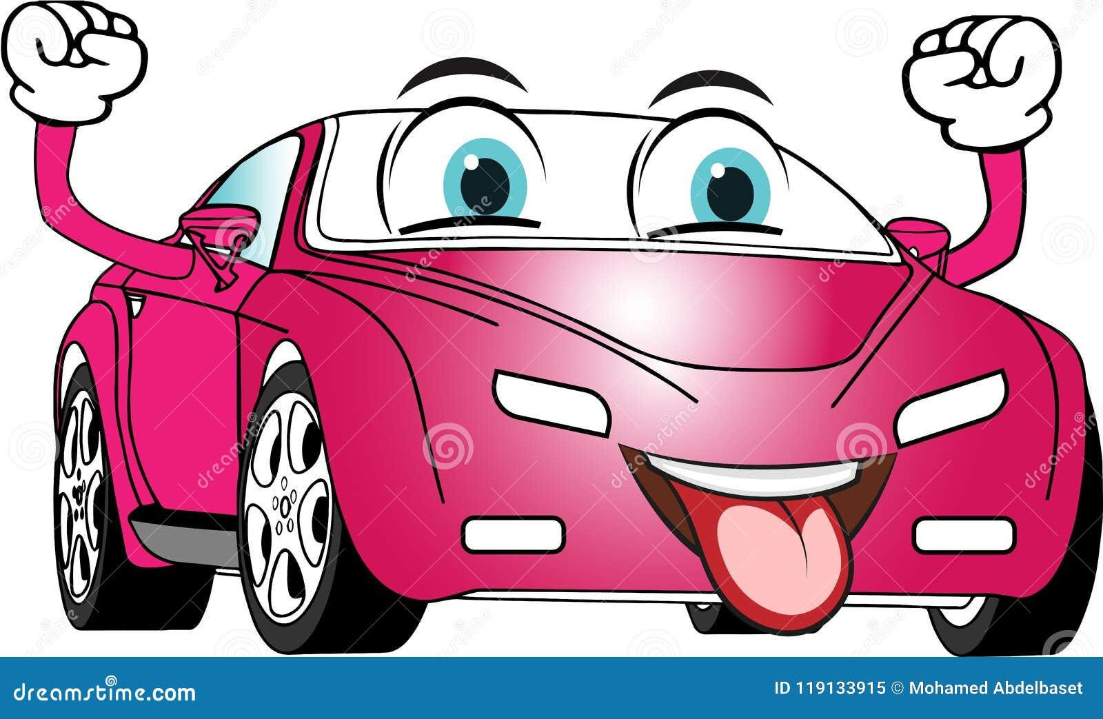 Rosa Engraçado Carro Colorido Dos Desenhos Animados