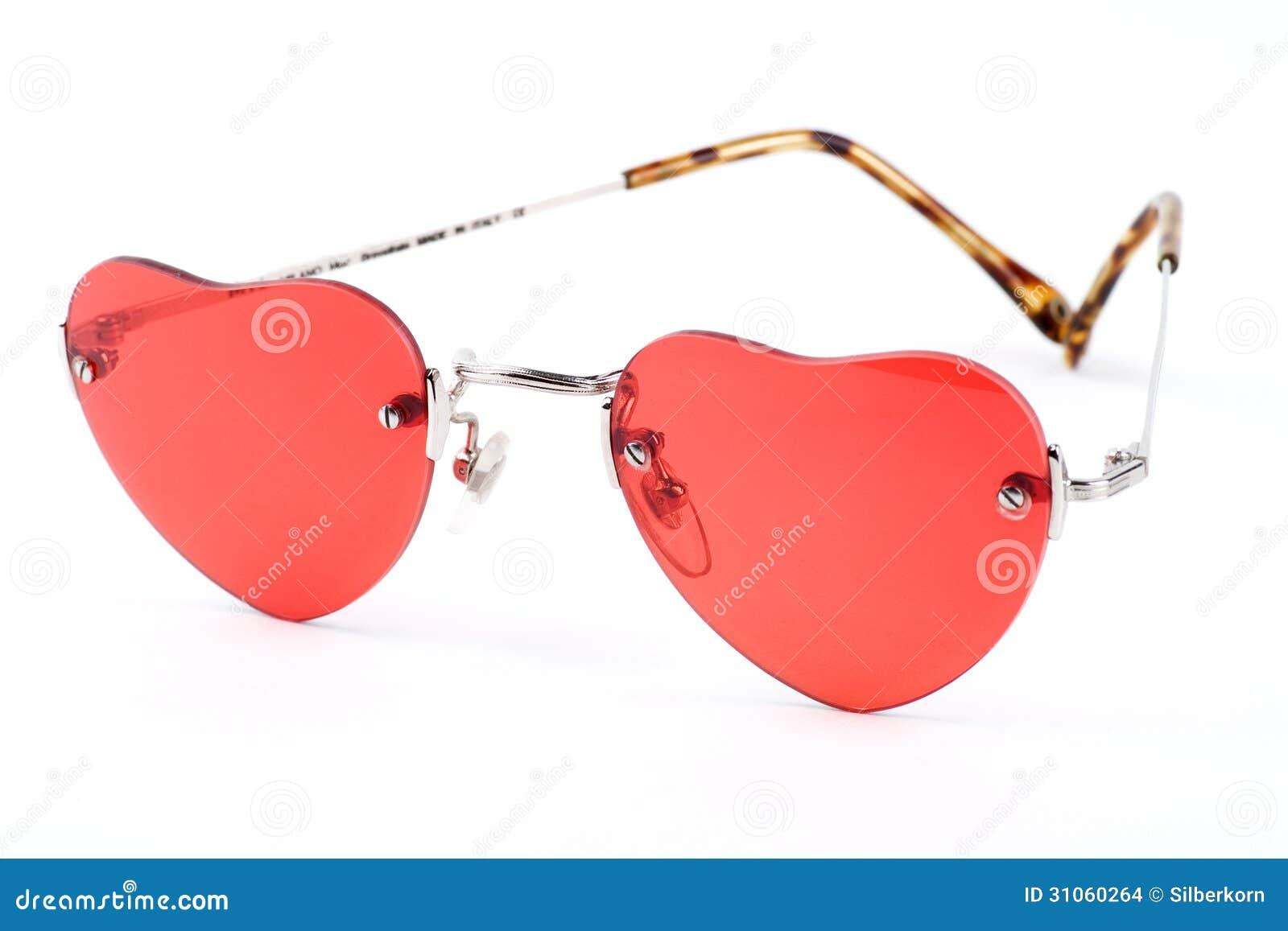 Rosa Färger Hjärta formad Solglasögon Arkivfoto Bild av