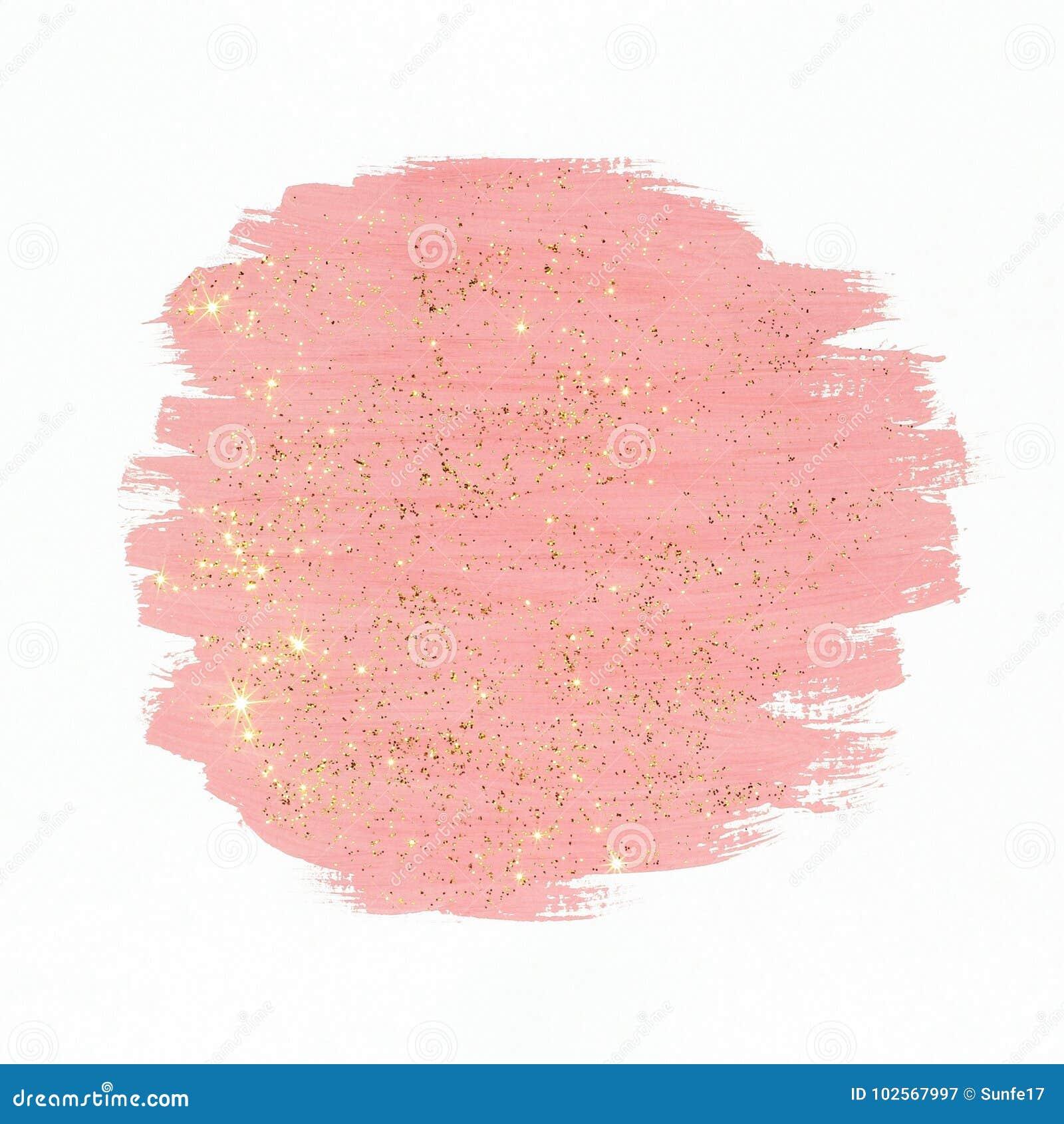 Rosa färgmålarfärg med guld blänker