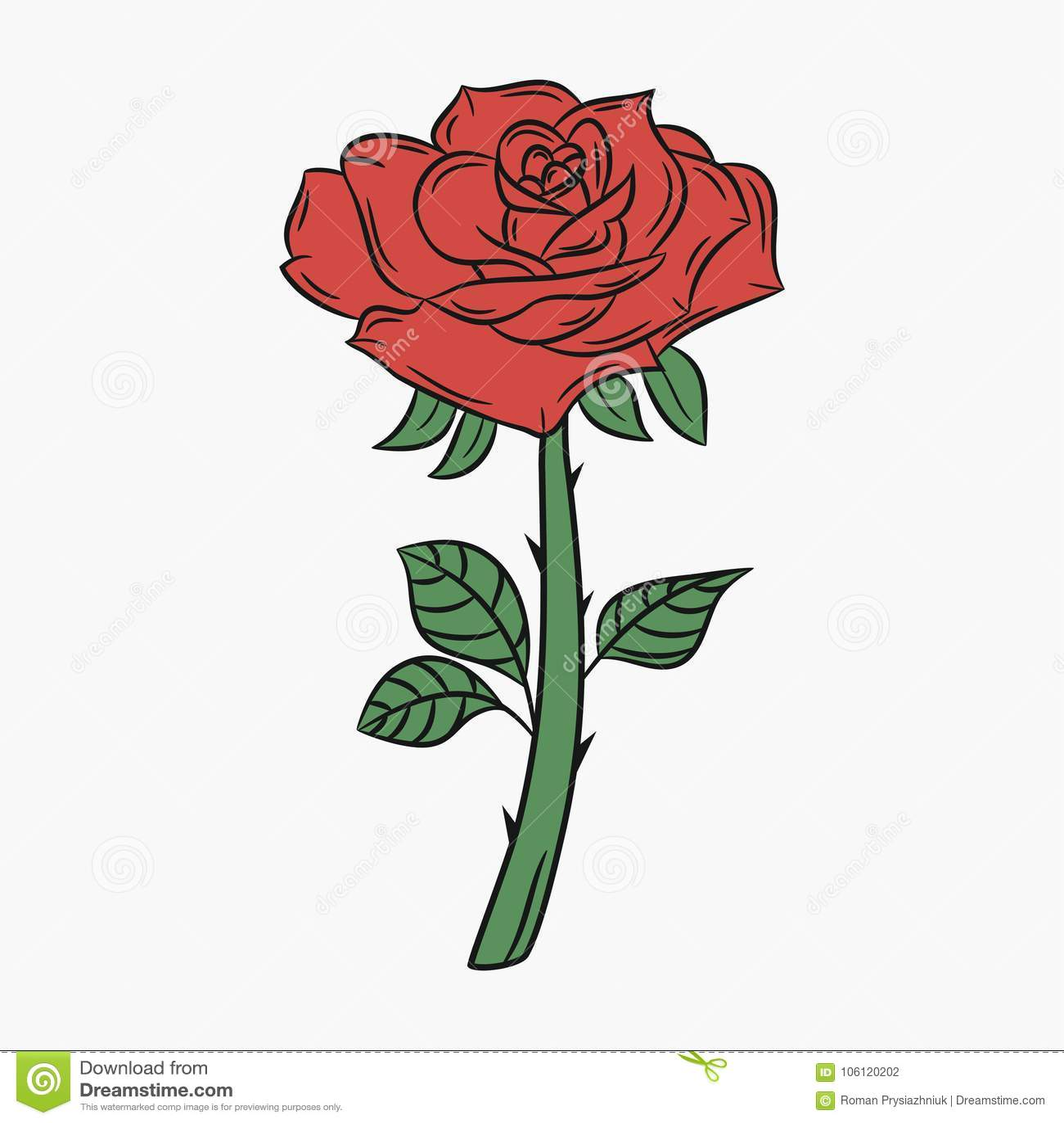 Rosa Flor Com Uma Haste E Os Espinhos Botao Com Petalas Vermelhas