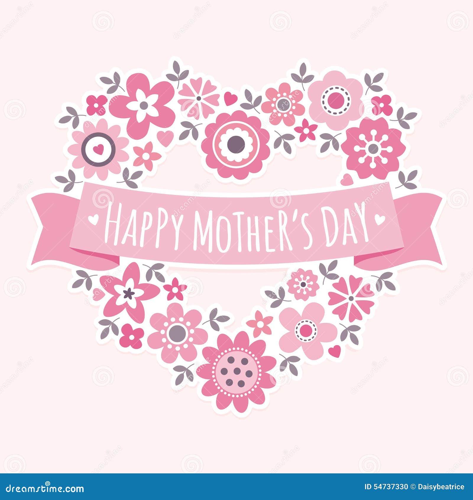 Rosa floral del corazón de madres de la tarjeta feliz del día