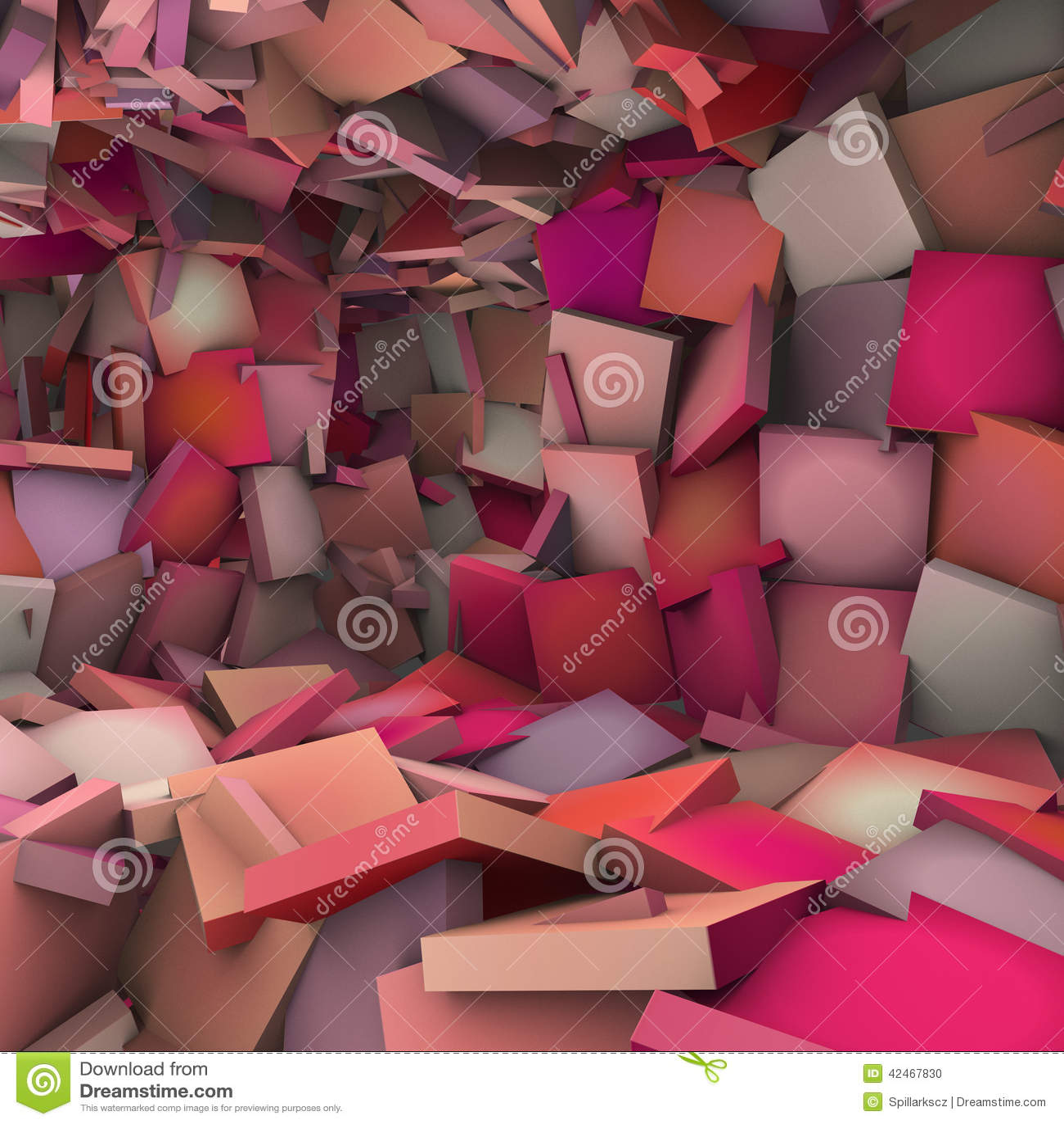 Rosa Forminnenraum der Zusammenfassung 3d zersplittert