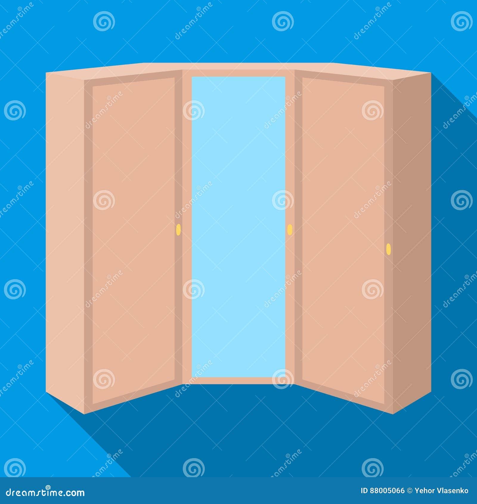 Rosa Garderobe mit zwei Türen und einem Spiegel Schlafzimmergarderobe Einzelne Ikone der Schlafzimmermöbel im flachen Artvektorsy