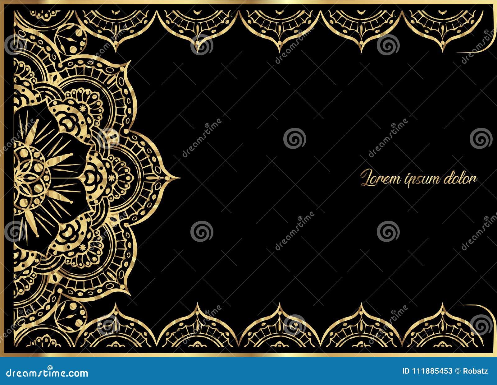 Rosa Goldweinlese-Grußkarte Auf Schwarzem Hintergrund ...