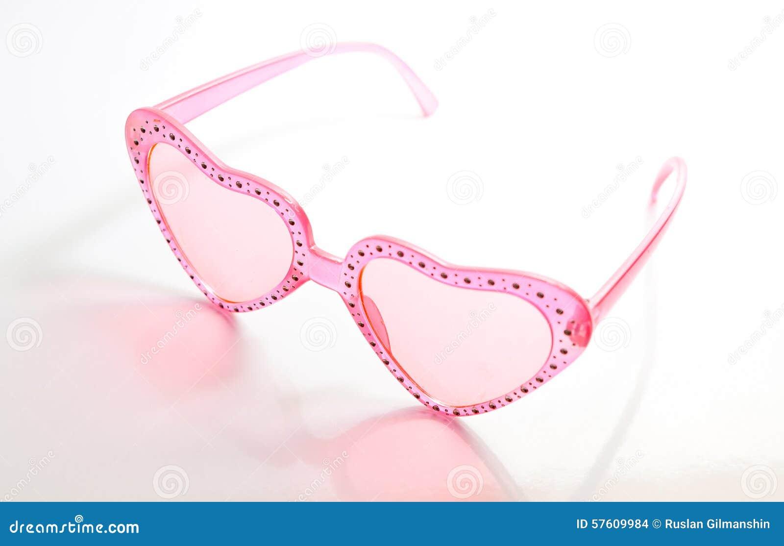 Rosa Hjärta Formad Solglasögon På Vit Bakgrund Arkivfoto