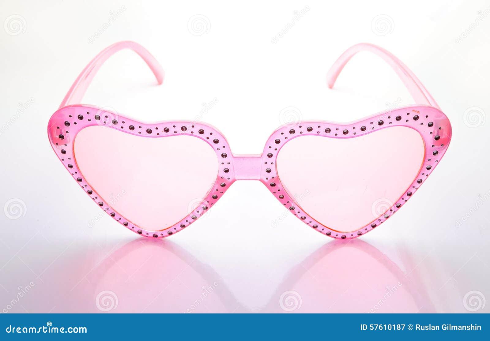 Rosa Hjärta Formad Solglasögon På Vit Bakgrund Fotografering