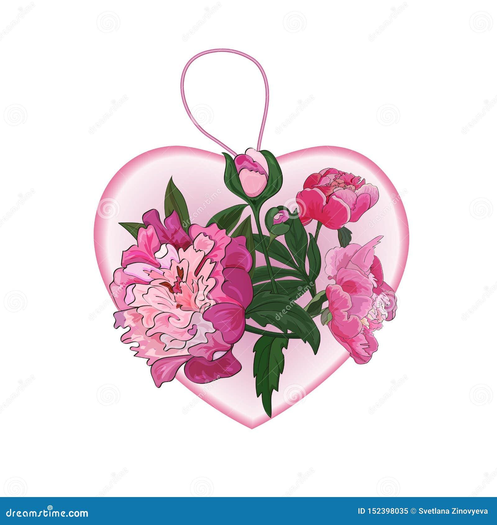 Rosa hjärta, hänge med rosa blommor av pioner vektor