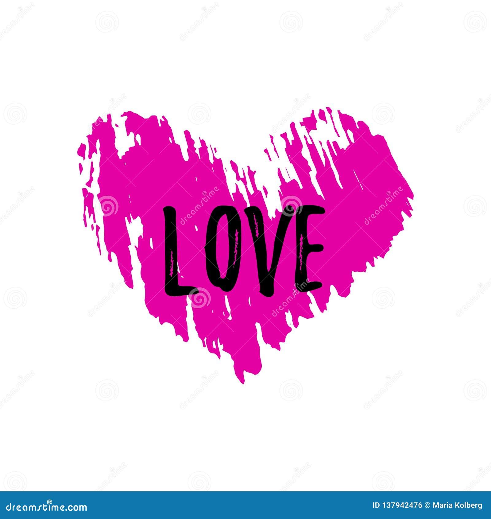 Rosa hjärta med en textur och ordförälskelsen Sammansättning för dag för valentin` s