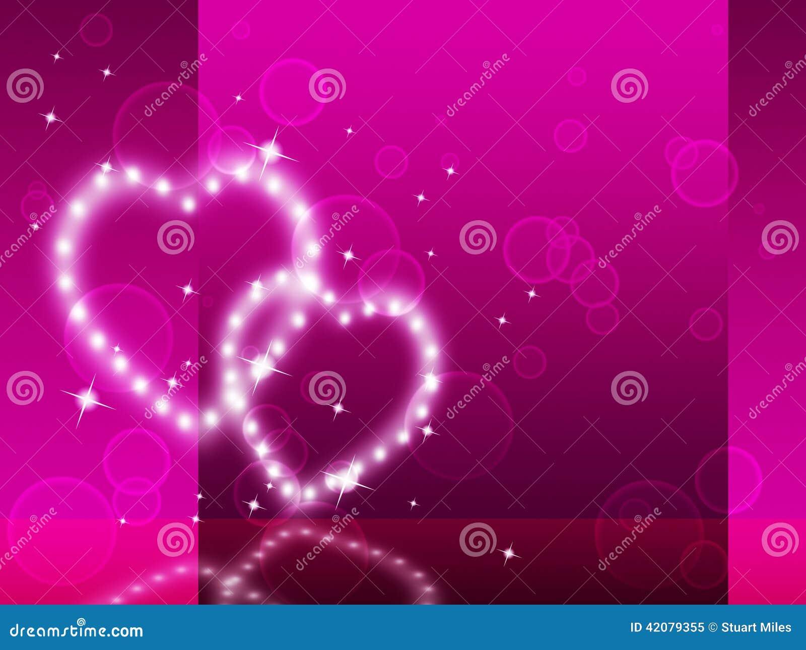 Rosa hjärtabakgrund betyder affektion Desire And Glittering