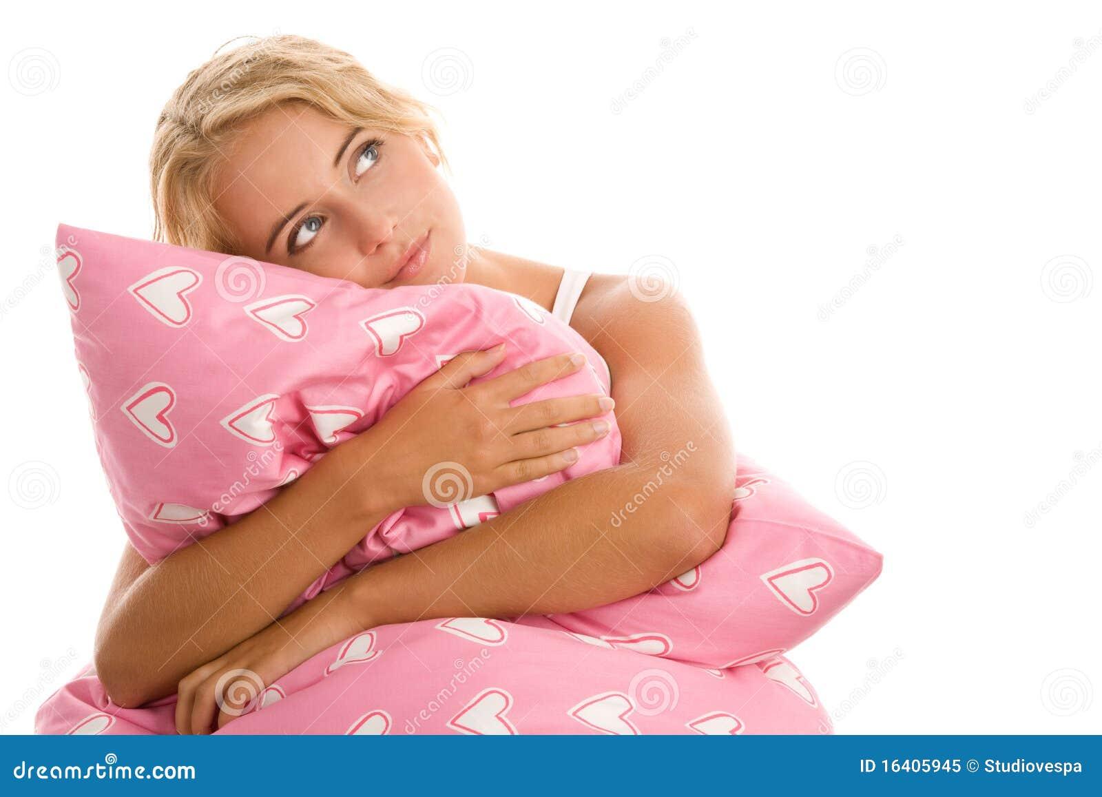 Rosa kvinna för kudde