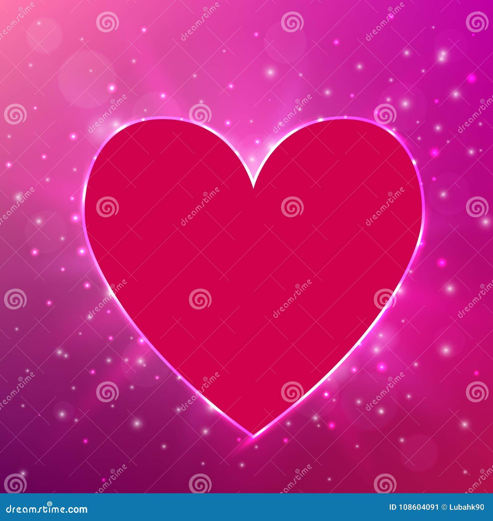 Rosa ljus hjärta på glänsande bakgrund En vektorillustration Begrepp för dag för valentin` s också vektor för coreldrawillustrati