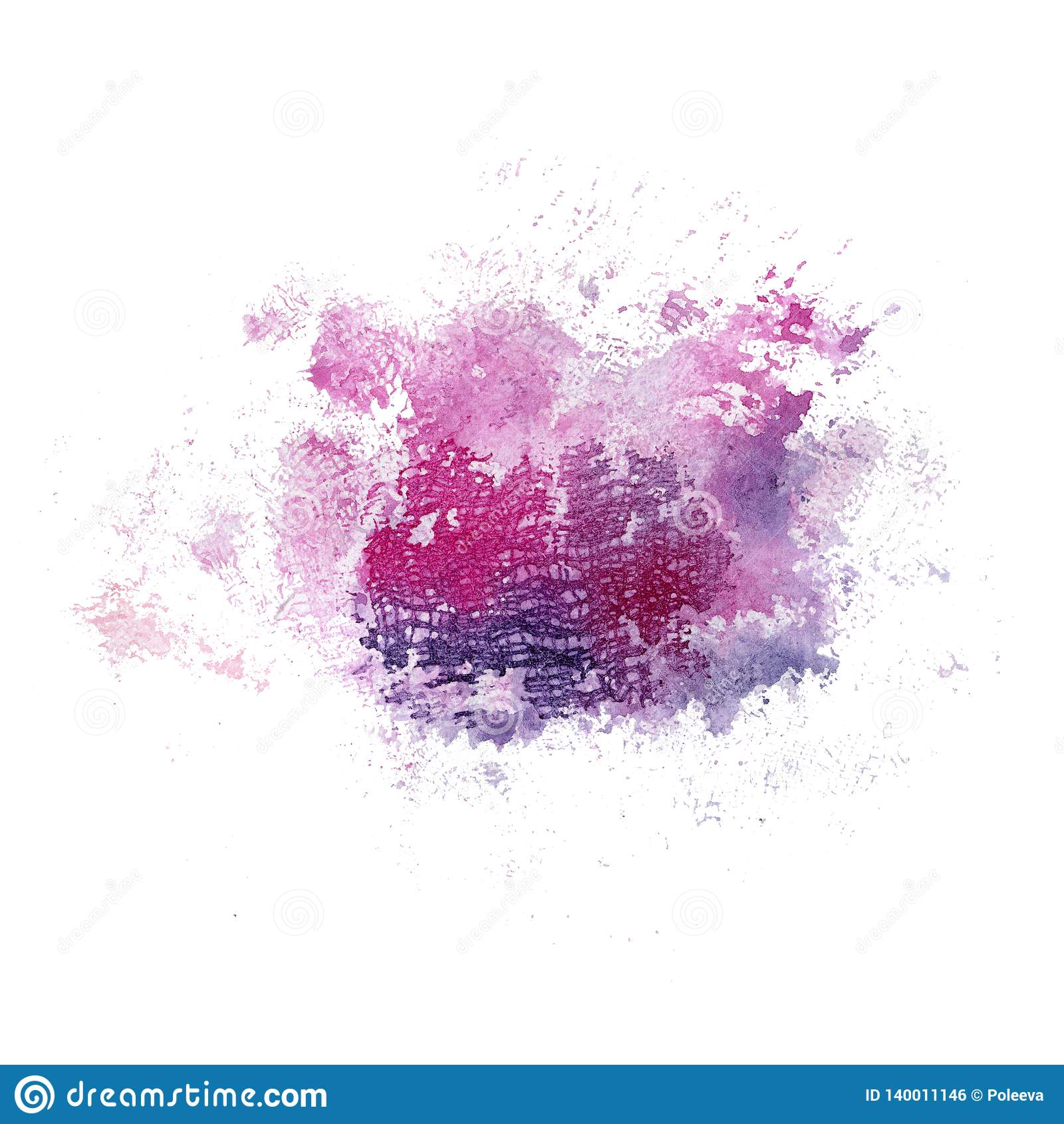 Rosa luminoso dell acquerello e macchia blu con struttura del tessuto Illustrazione astratta su un fondo bianco