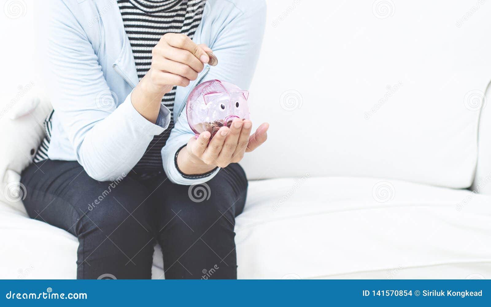 Rosa Münzenglas für Frauen