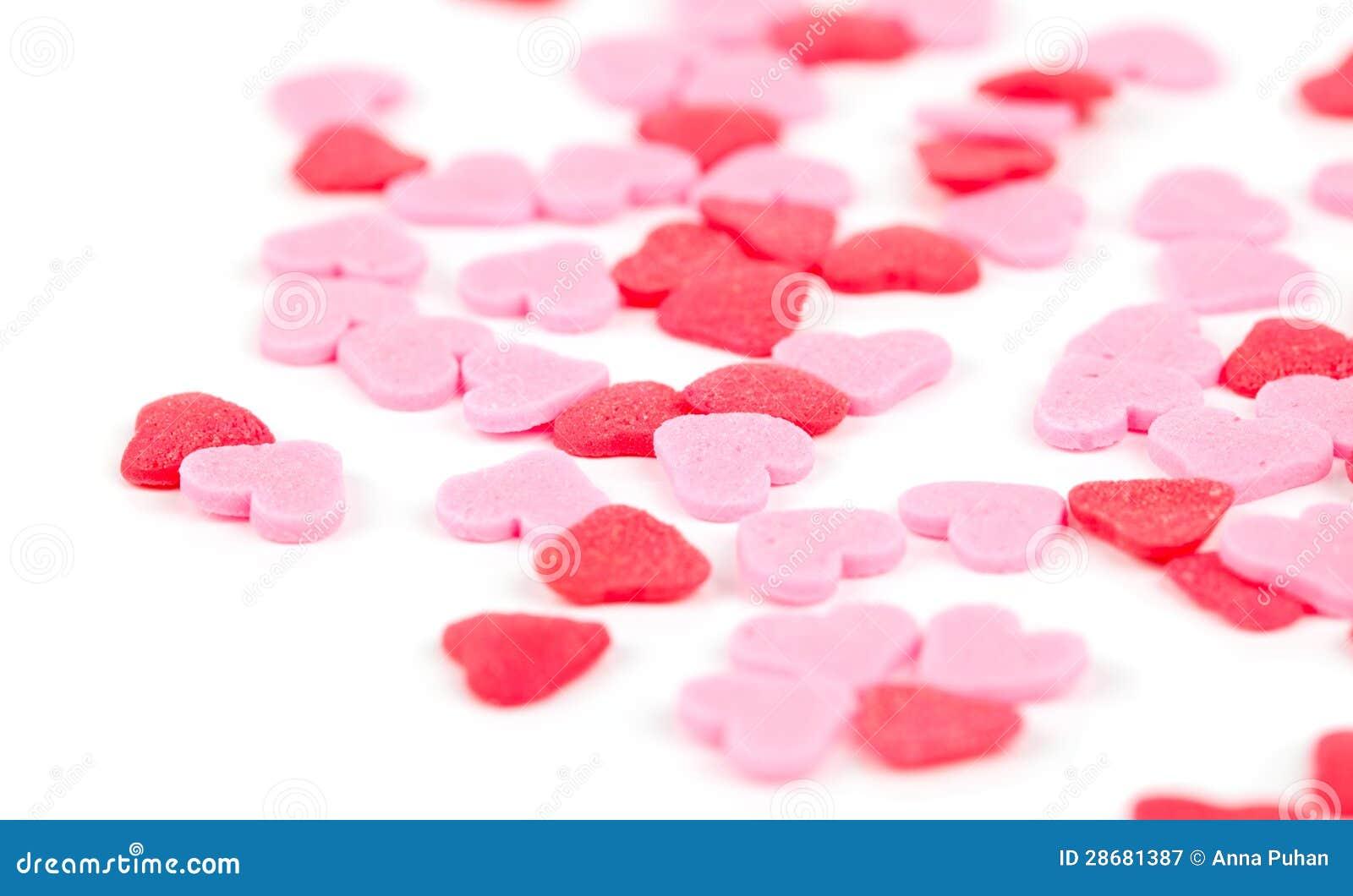 Rosa och röda hjärtor