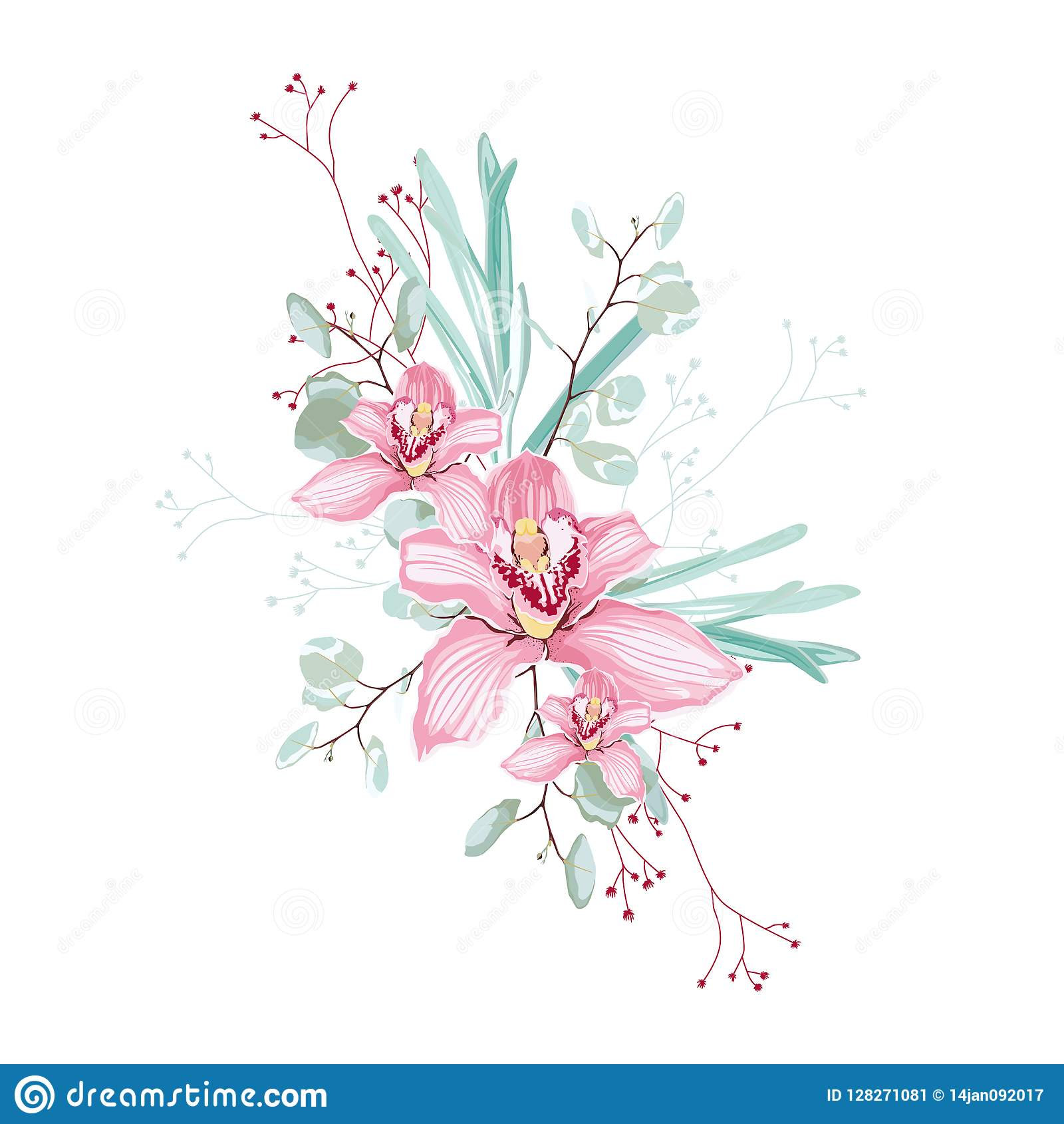 Rosa Orchideen Kraut Eukalyptus Und Grunblumenstrauss