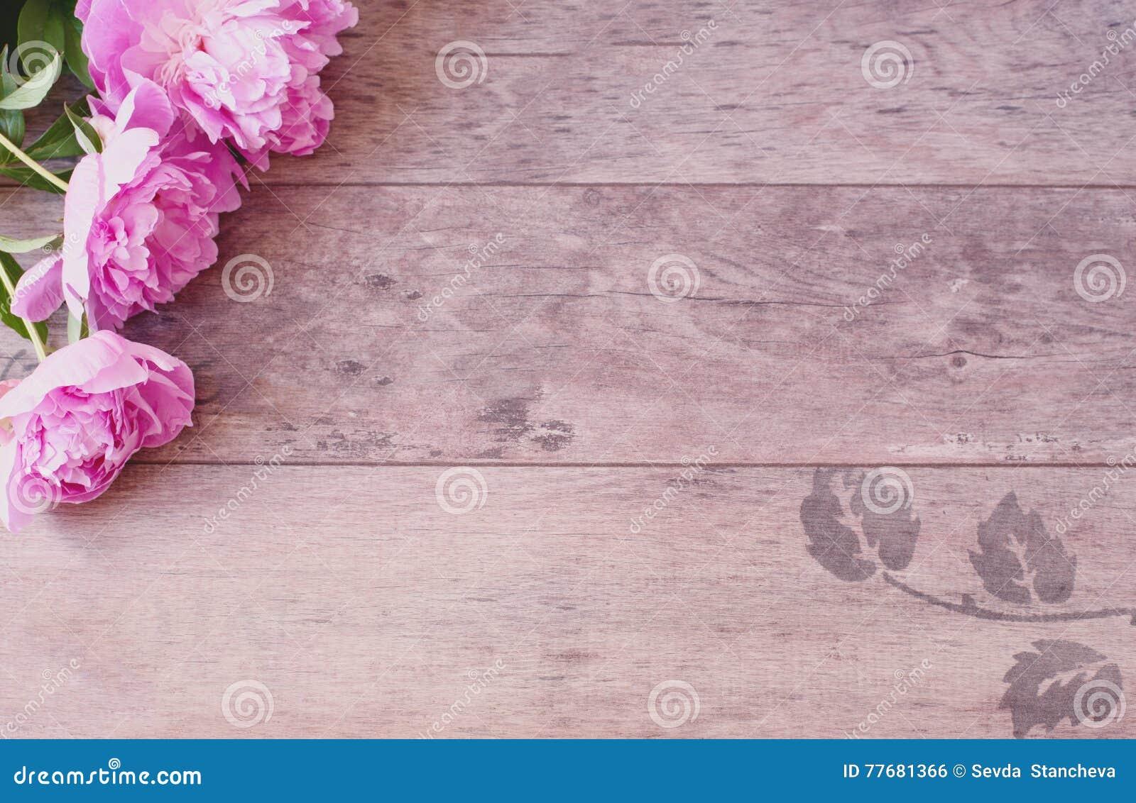 Rosa Pfingstrosen Blumen Auf Einem Holzernen Hintergrund Angeredete