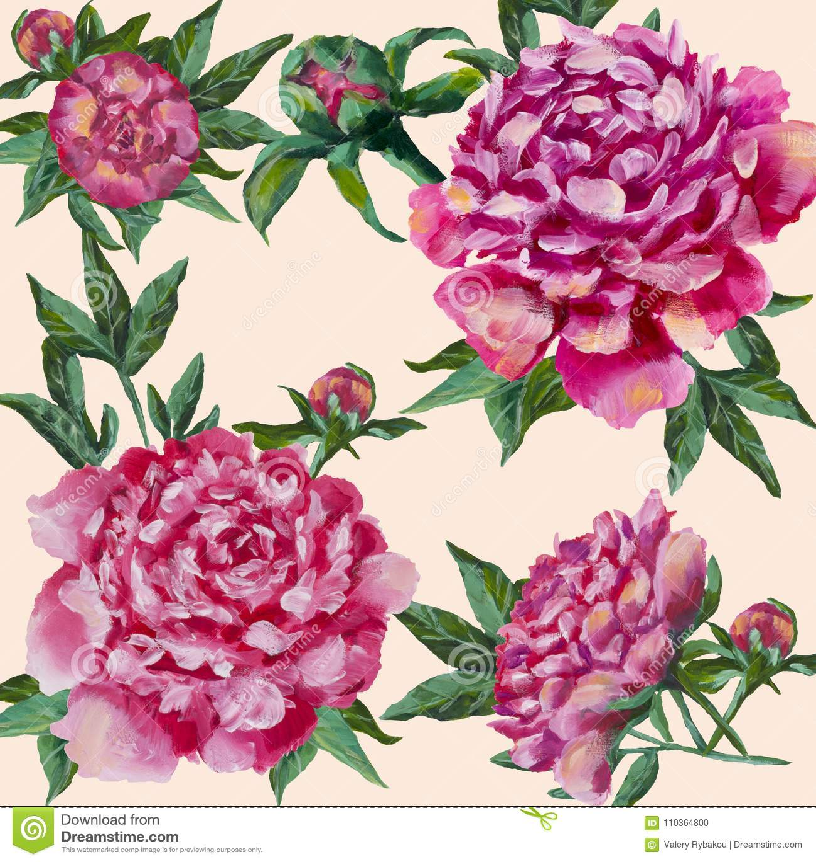 Rosa Pfingstrosen handgemalt Pfingstrose mit den Knospen und den Blättern, Aquarell