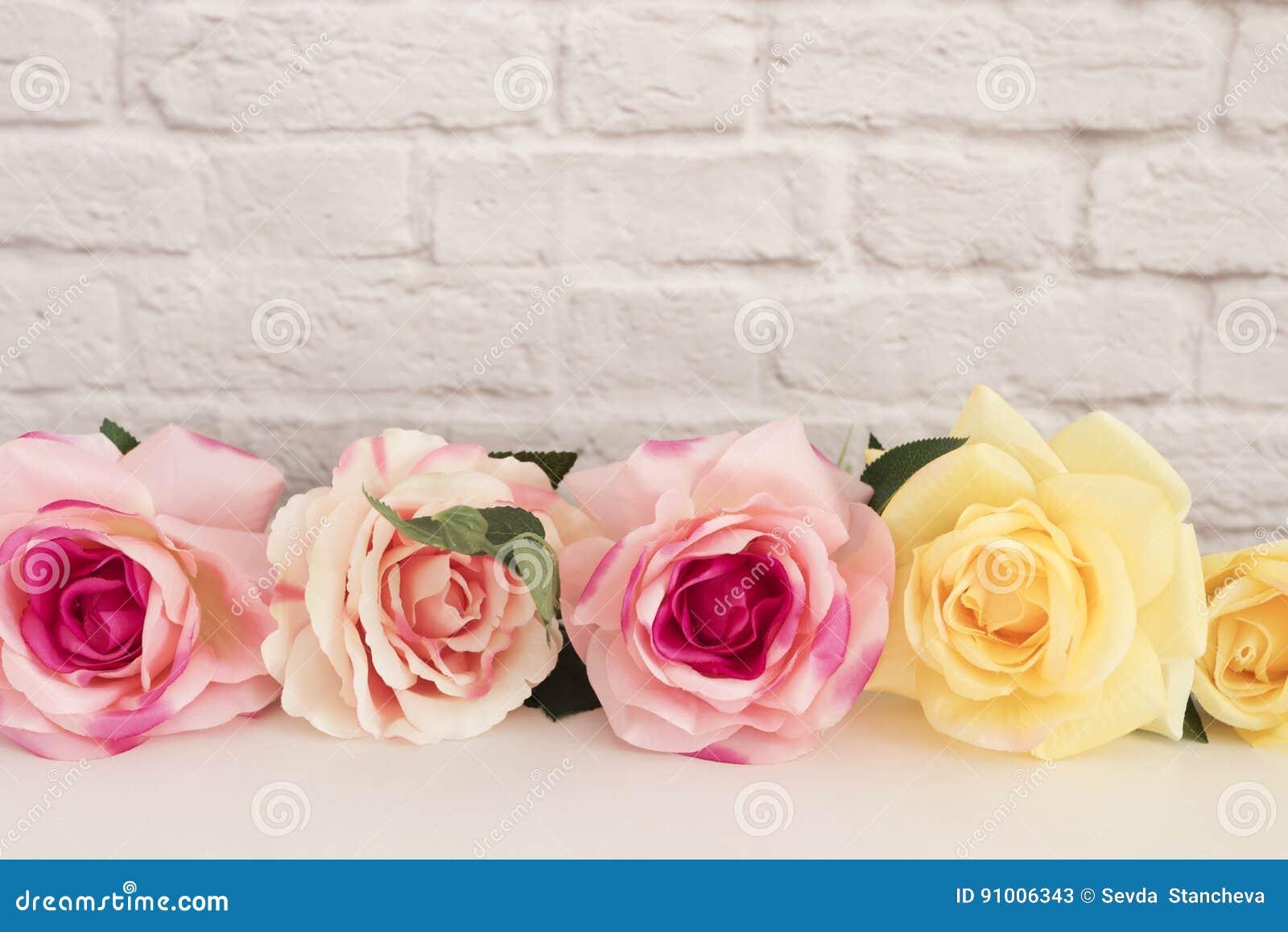 Rosa Rose Mock Up Utformat materielfotografi Blom- ram, utformad väggåtlöje upp Rose Flower Mockup Valentine Mothers Day Card, Gi