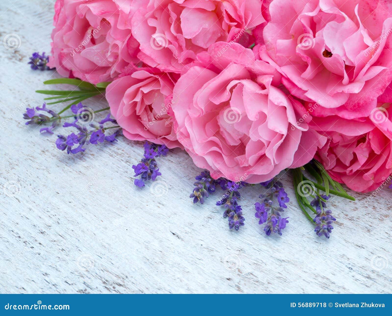 Rosa Rosen und Lavendelblumenstrauß auf dem weißen Hintergrund