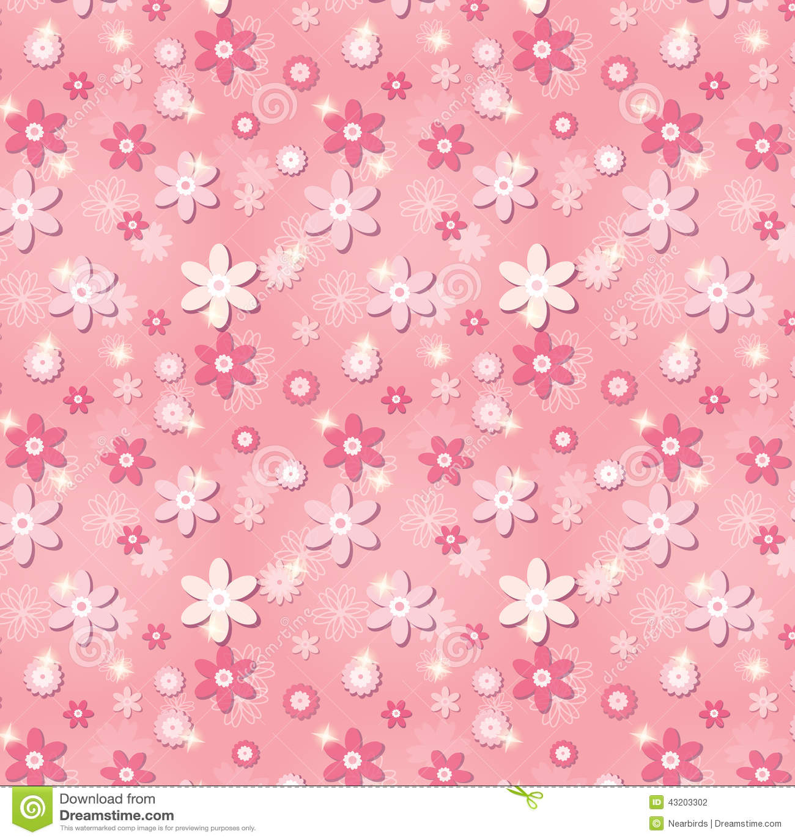 Download Rosa Sömlös Modell Med Blommor Och Stjärnor Vektor Illustrationer - Illustration av modell, samtida: 43203302