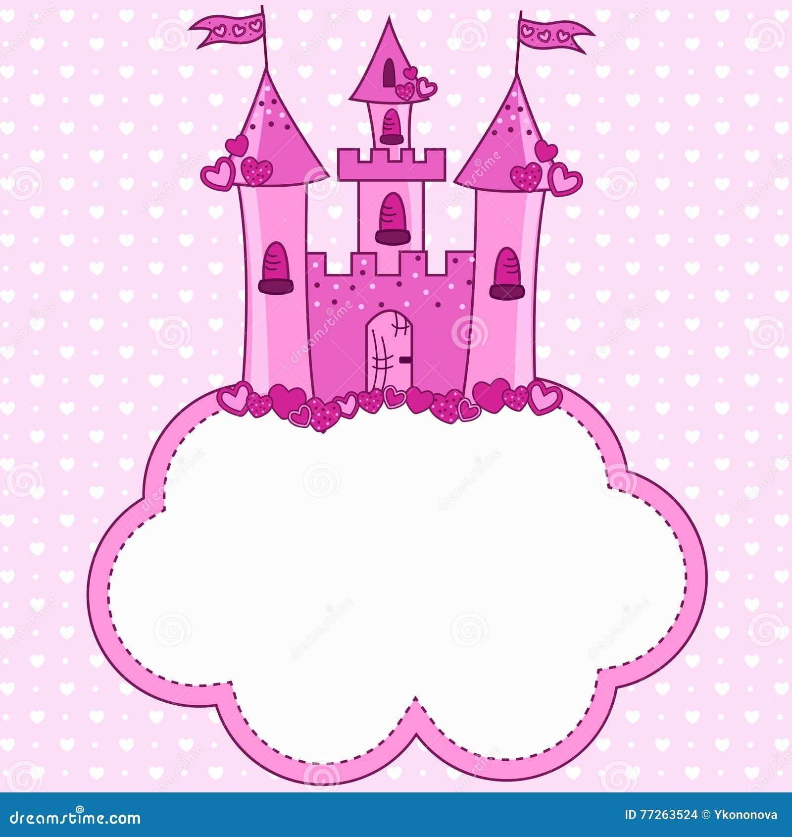 rosa schloss für eine prinzessin auf einer wolke vektor