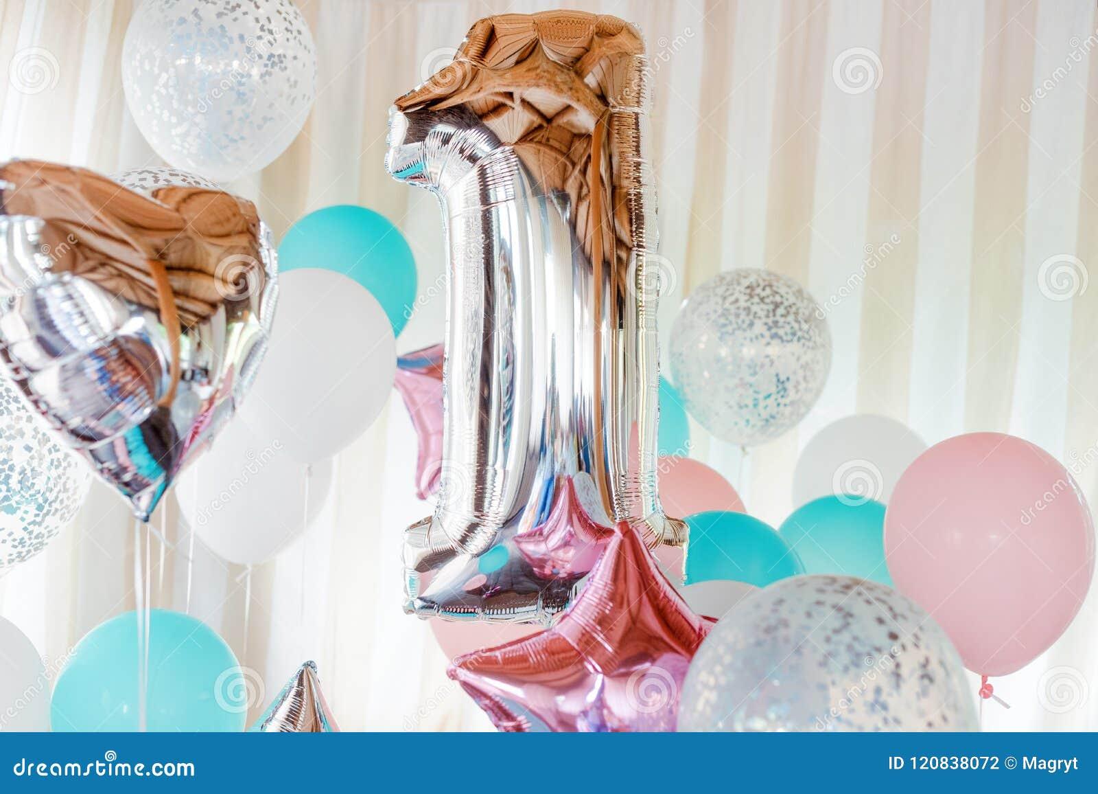 Rosa, Silber und blaue aufblasbare Ballone auf Bändern - Nr. 1 Dekorationen für Geburtstagsfeier Metallischer Designballon