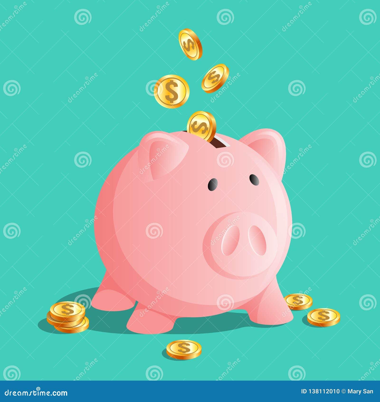 Rosa spargrissymbol, moneybox med kalla mynt