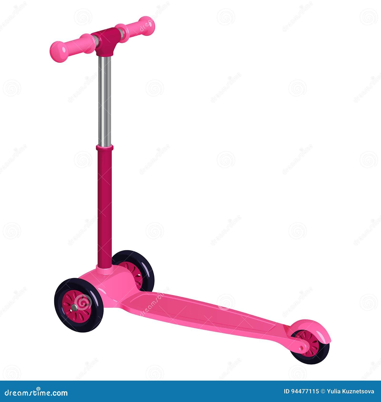 Rosa sparkcykel för barn` s med plast- hjul