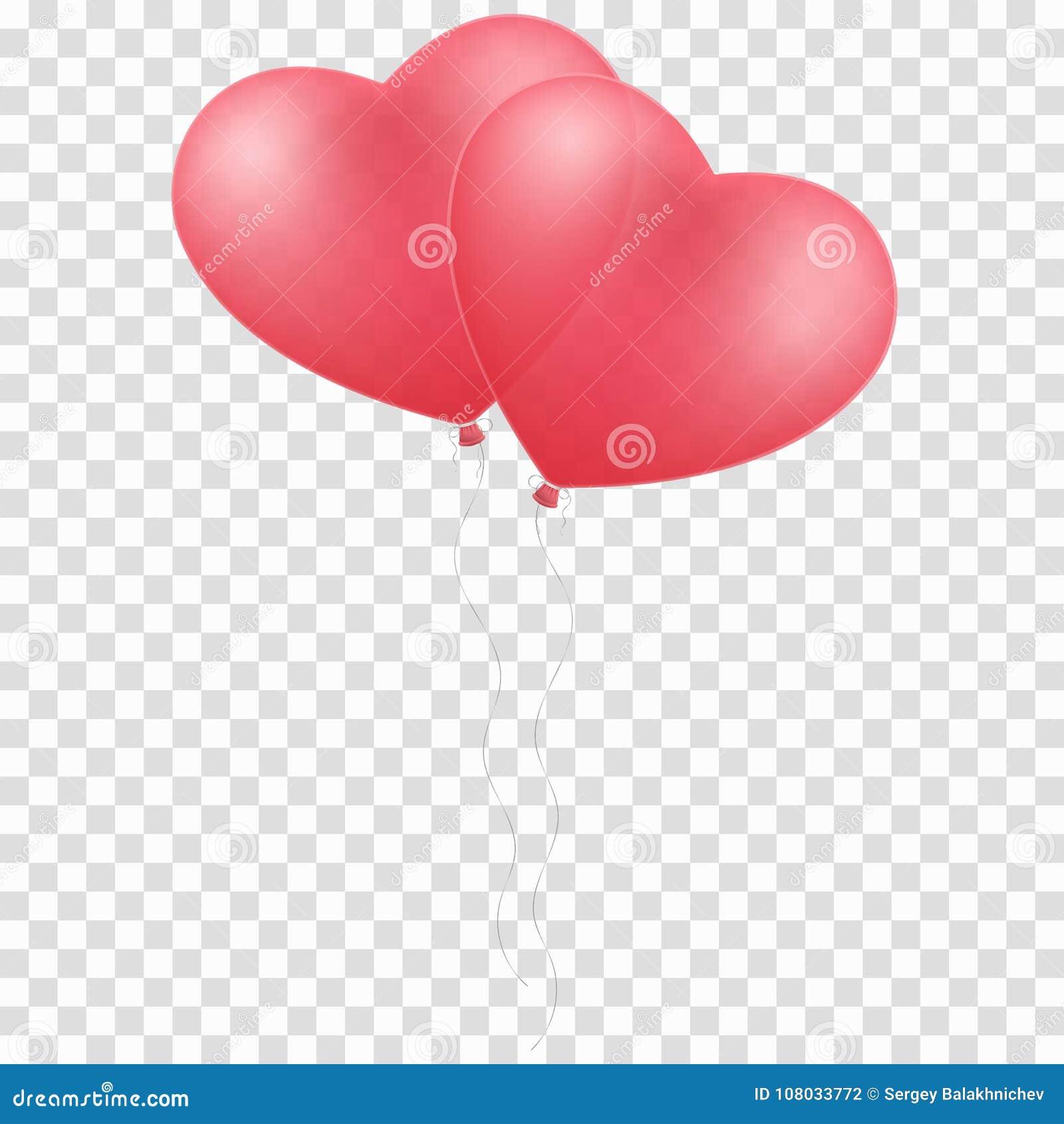 Rosa steigt das Herz im Ballon auf, das auf einem transparenten Hintergrund lokalisiert wird Ballone für die Hochzeit Grafisches