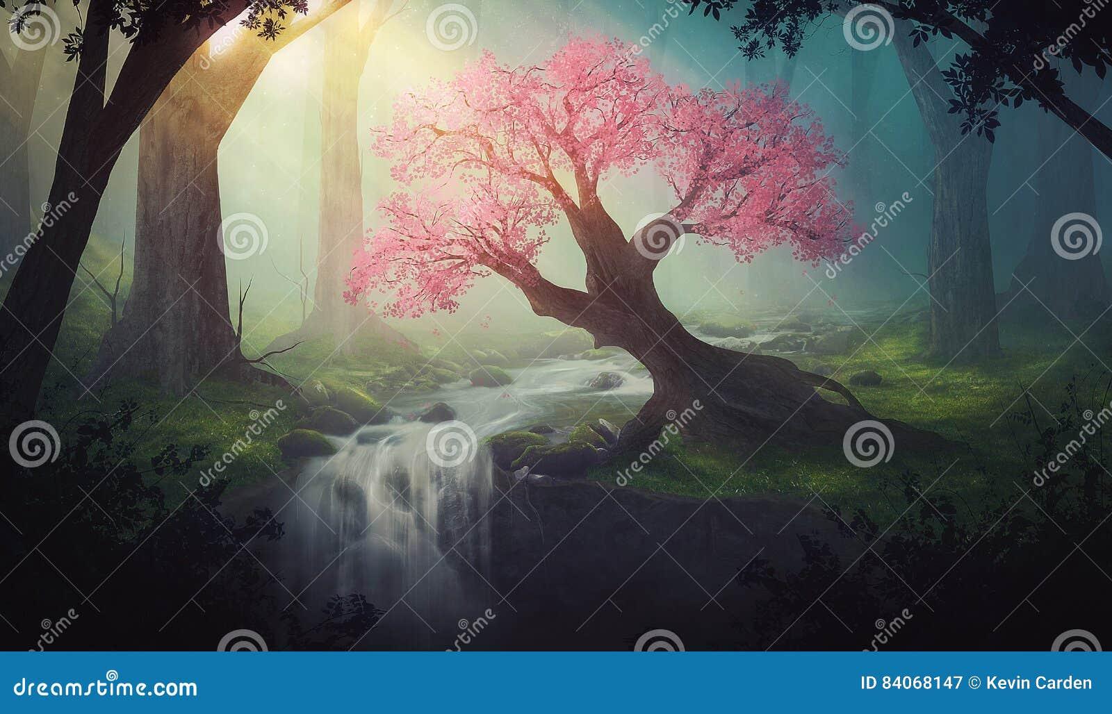 Rosa träd i skog