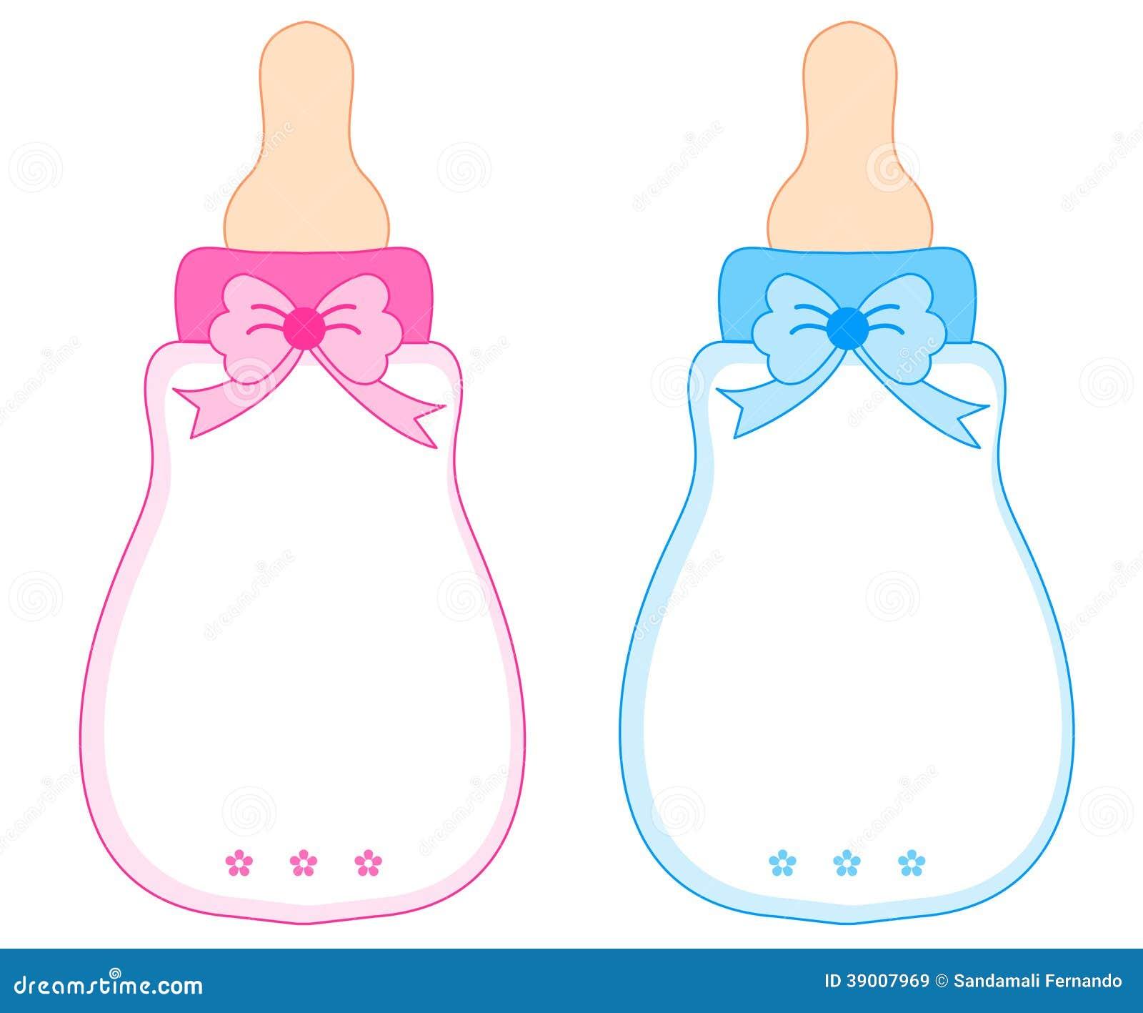 Rosa Und Blaues Baby-Flaschen Stock Abbildung - Bild: 39007969